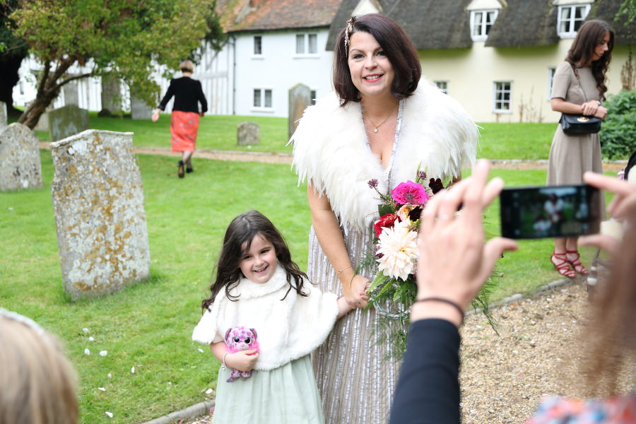 bride and daughter, quirky wedding at manuden church, essex