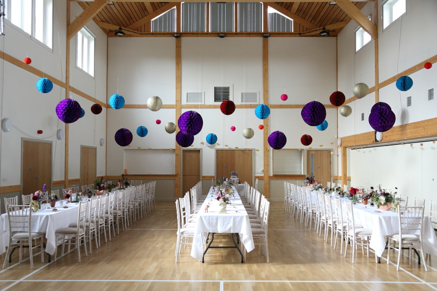 beautiful decorations at quirky wedding manuden village hall essex