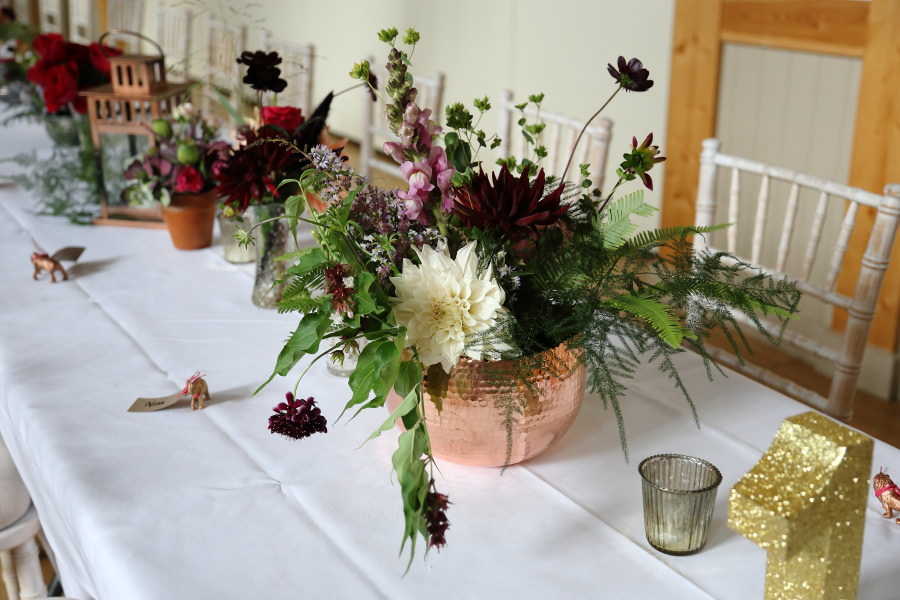 stunning flowers at manuden village hall wedding
