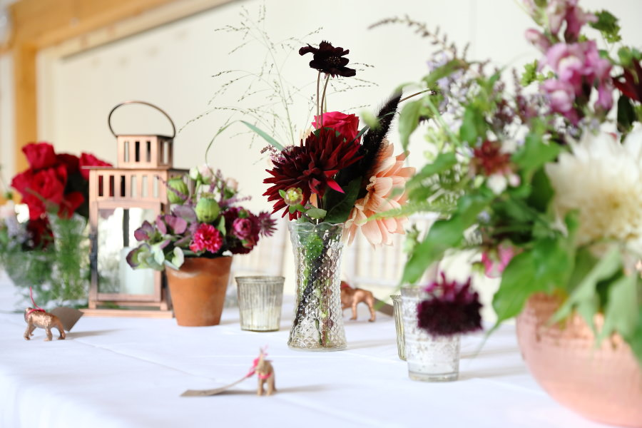 beautiful, quirky flowers at manuden village hall wedding