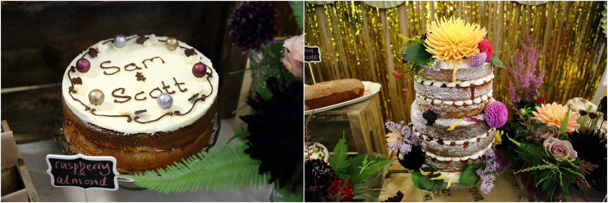 cake table at quirky wedding manuden village hall
