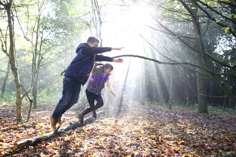 autumn country park in suffolk, fun family photography