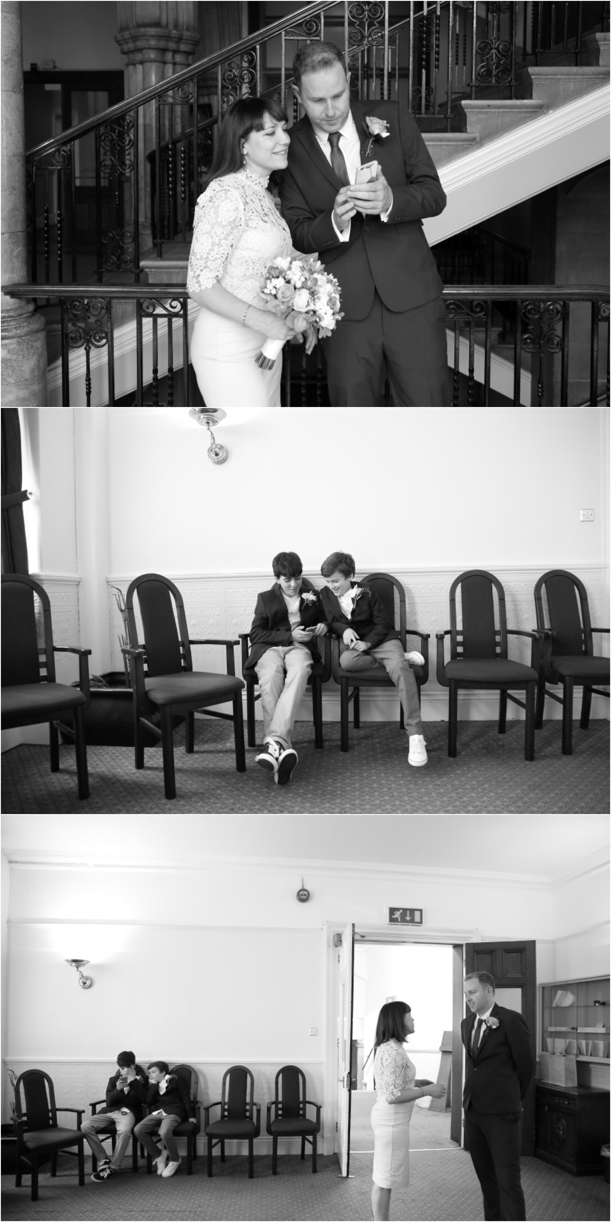 Black and white elopement photography, Ealing town hall
