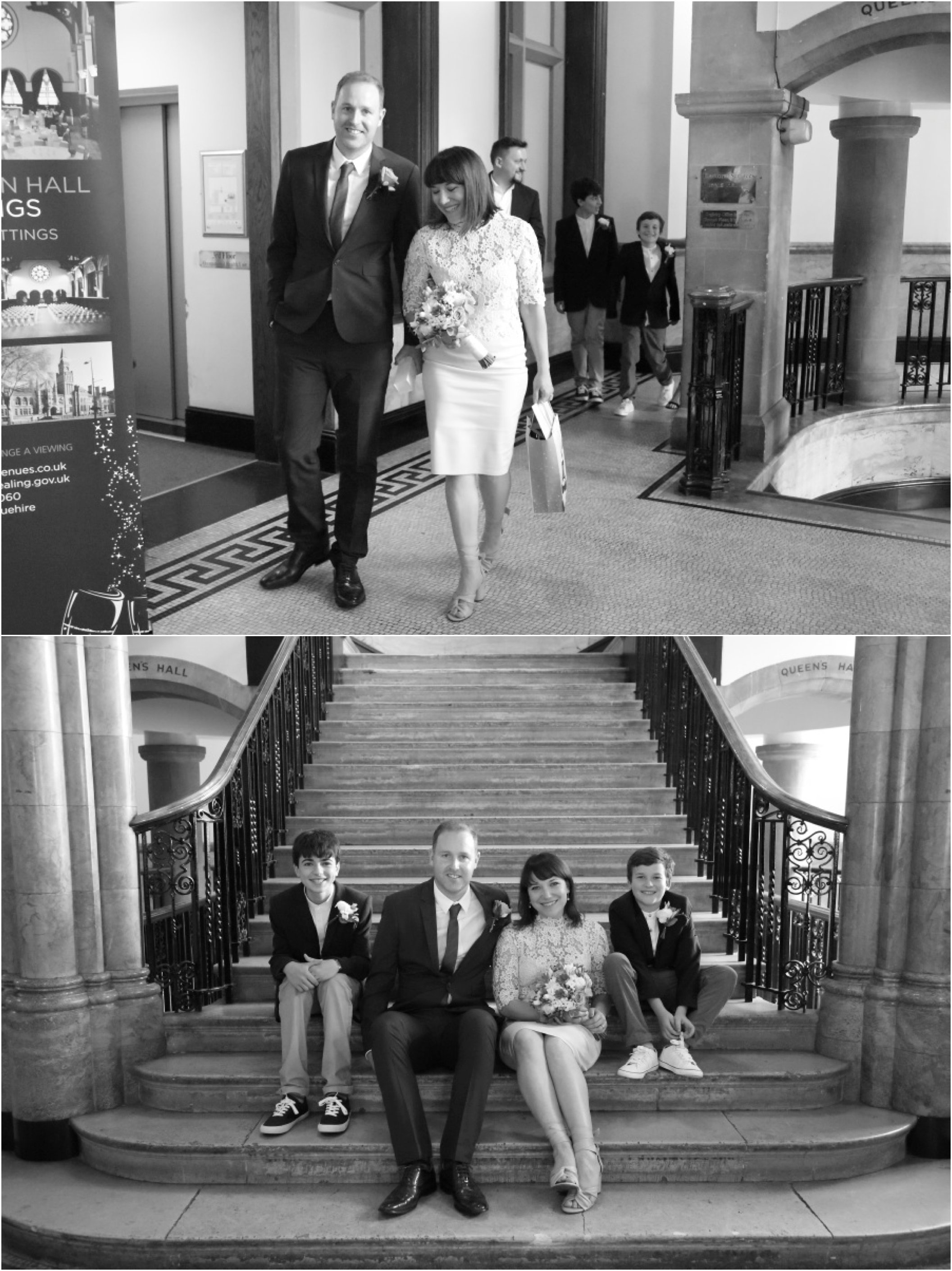London elopement photography in black and white