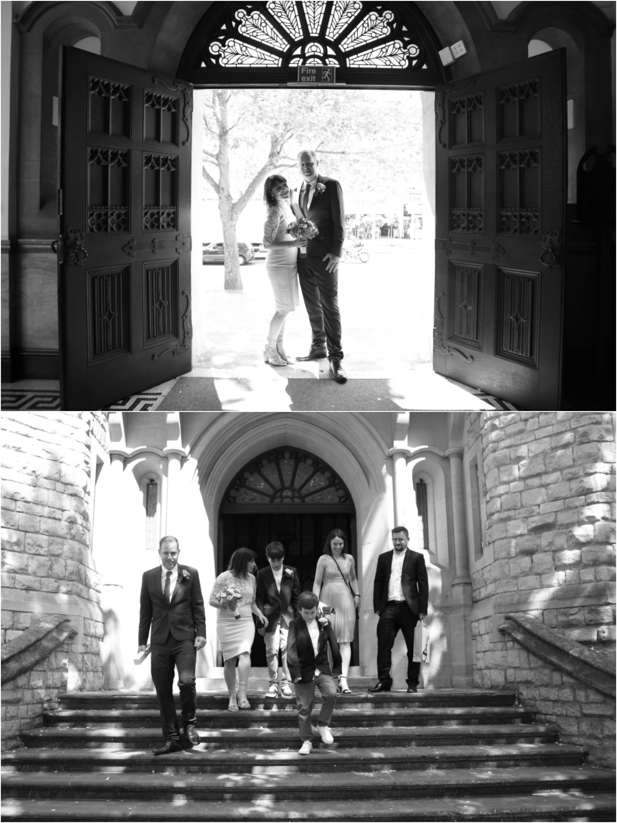 ealing town hall elopement, black and white wedding photography