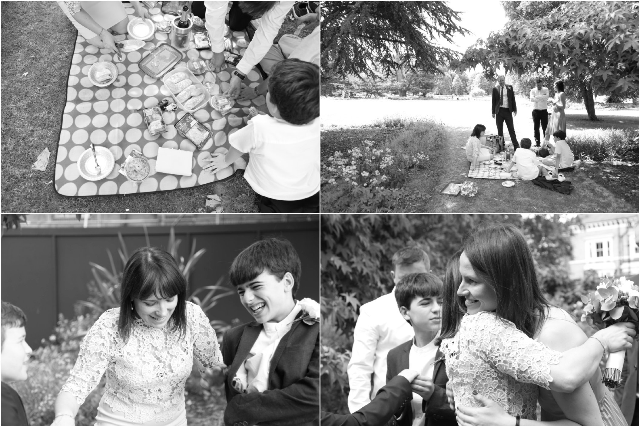 natural reportage fun ealing wedding photography, picnic in the park as reception