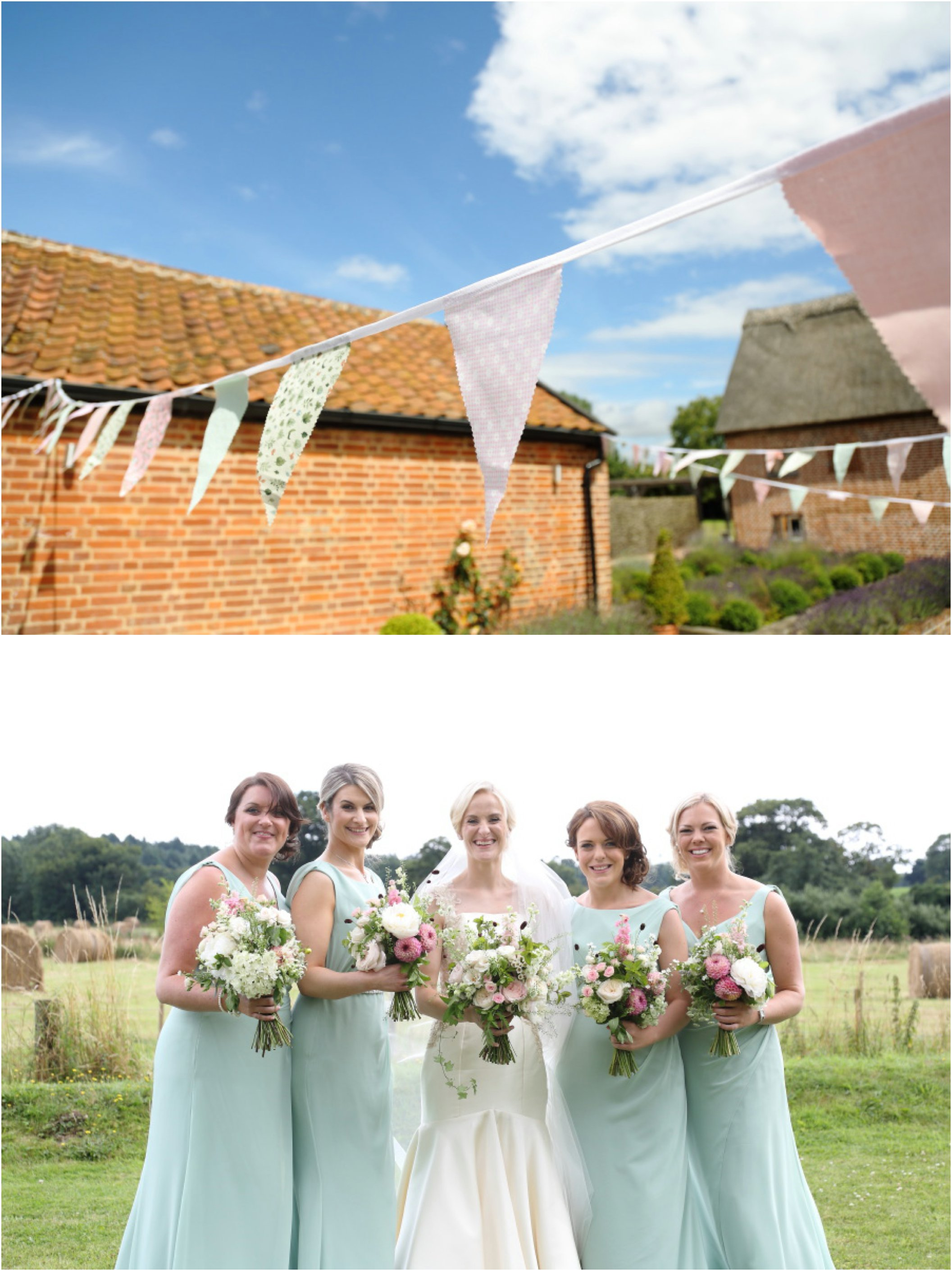 summer suffolk wedding, bunting pretty flowers and mint green bridesmaids