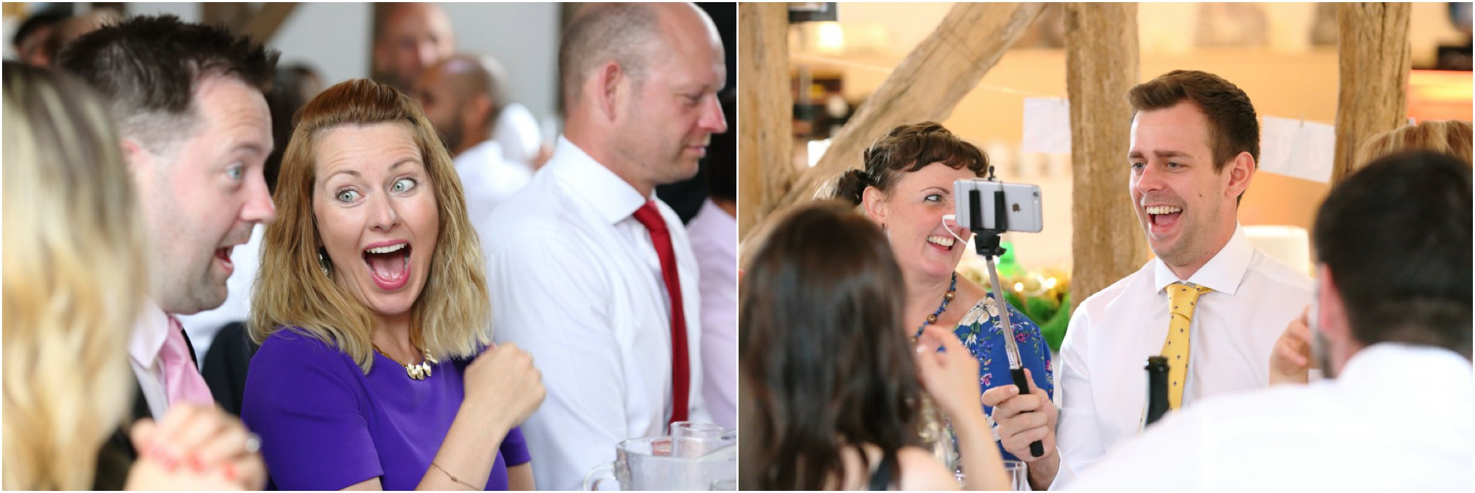 fun laughing faces at white dove barns wedding reception