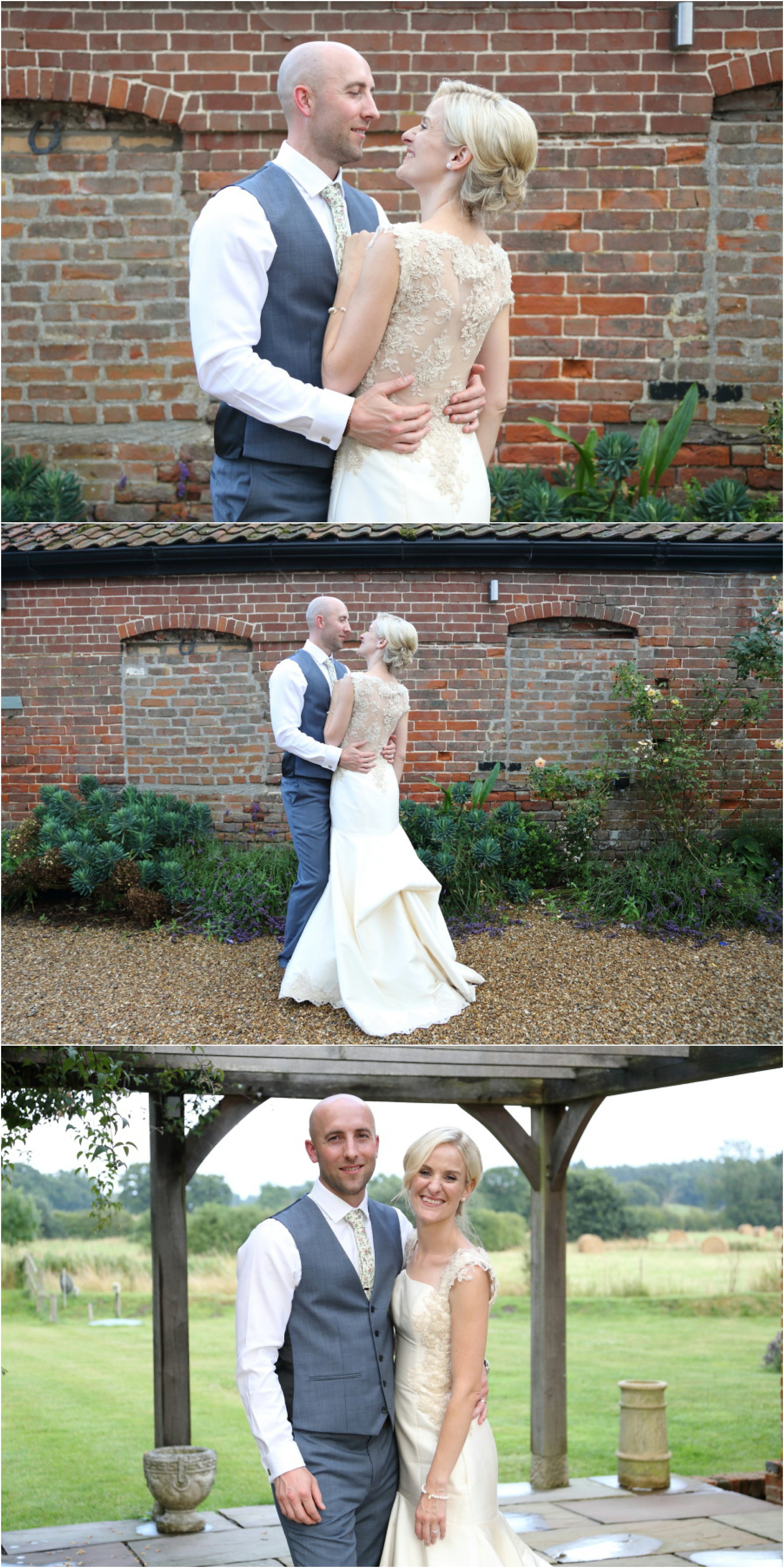 bride and groom portraits at brick wall, suffolk wedding photography