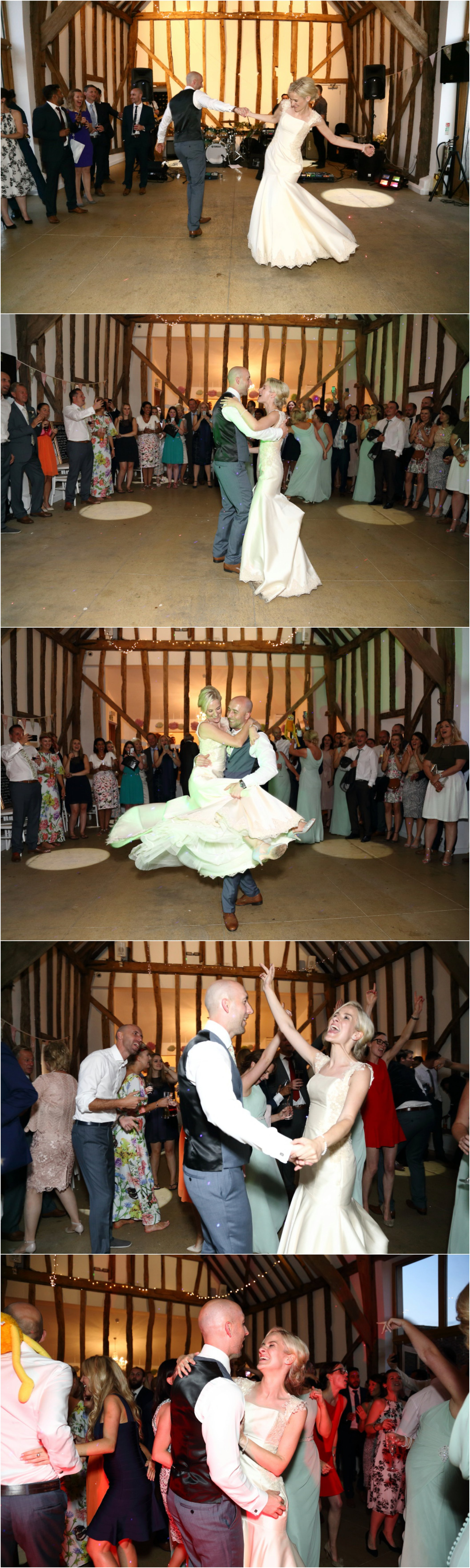 bride and groom dancing at white dove barns wedding suffolk