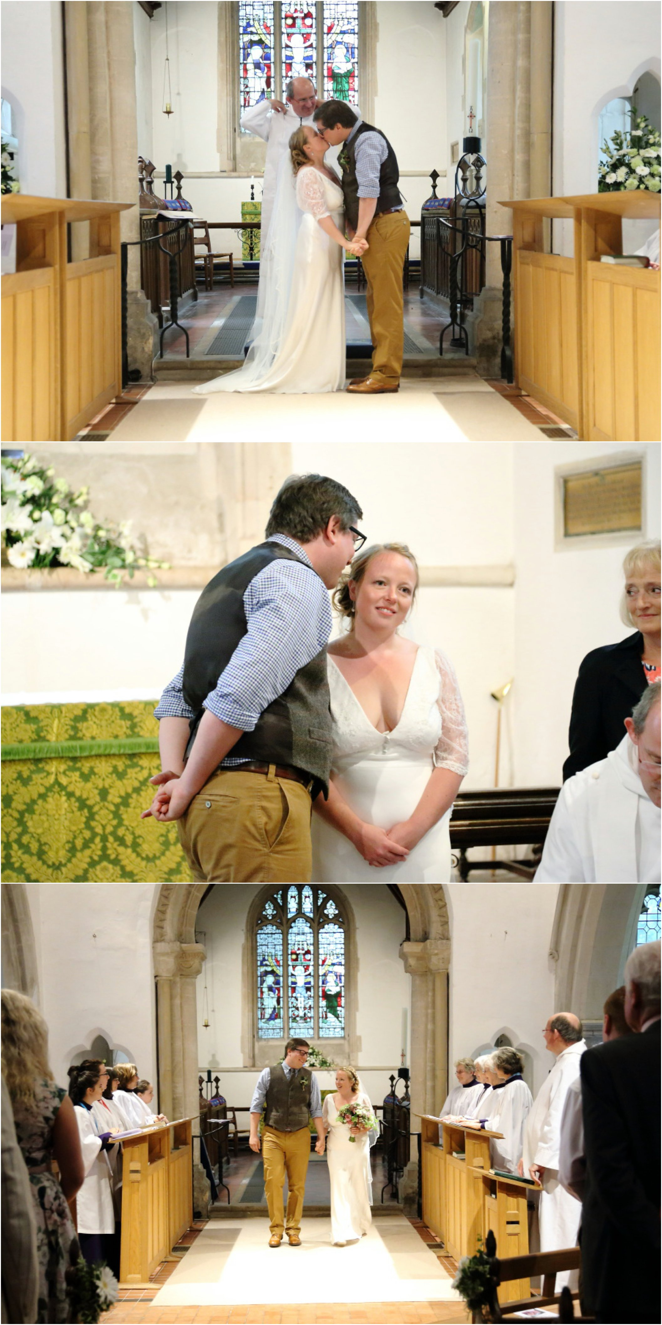 relaxed wedding at Stapleford church, cambridge