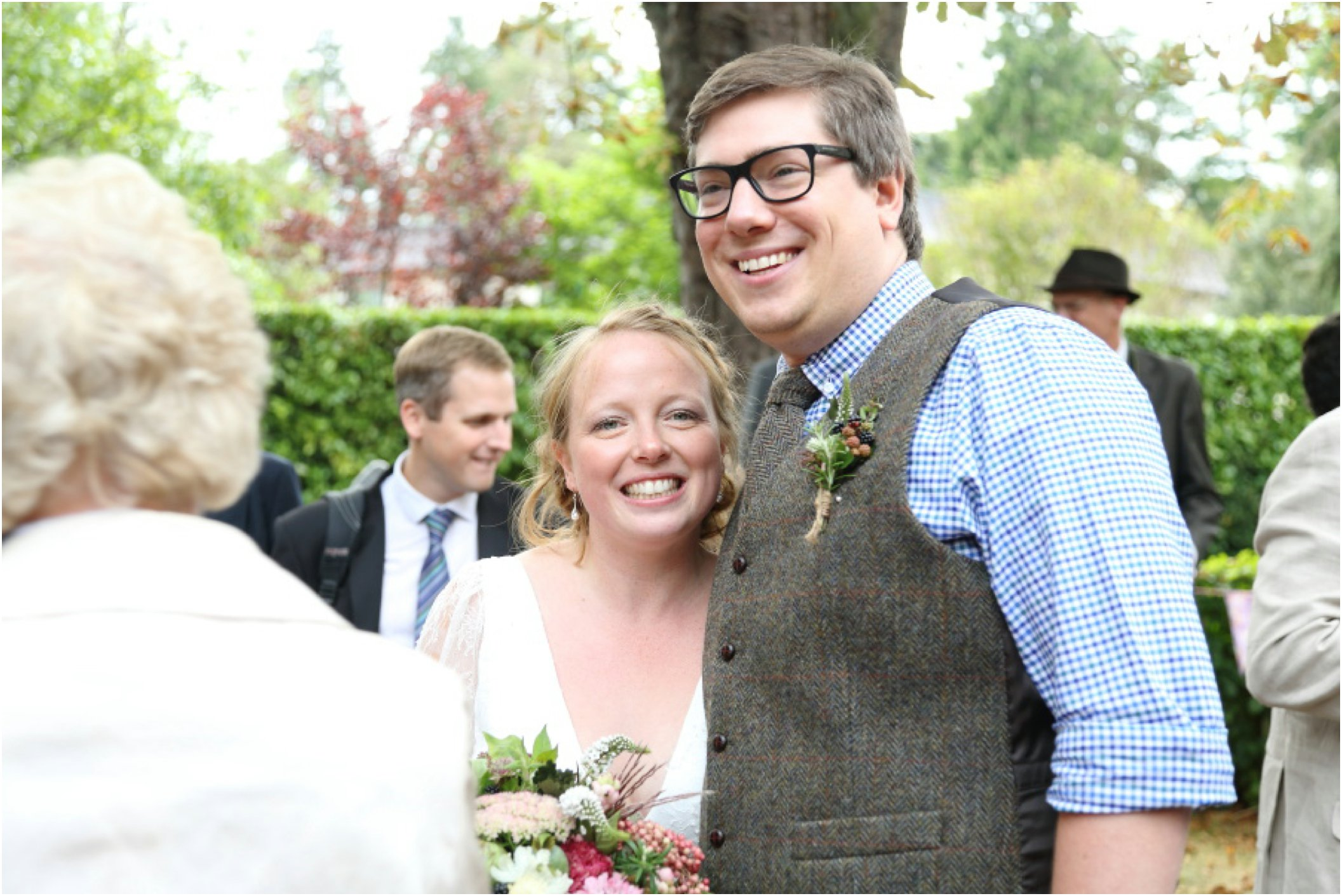 happy couple at informat, rustic wedding Childerley Cambridge