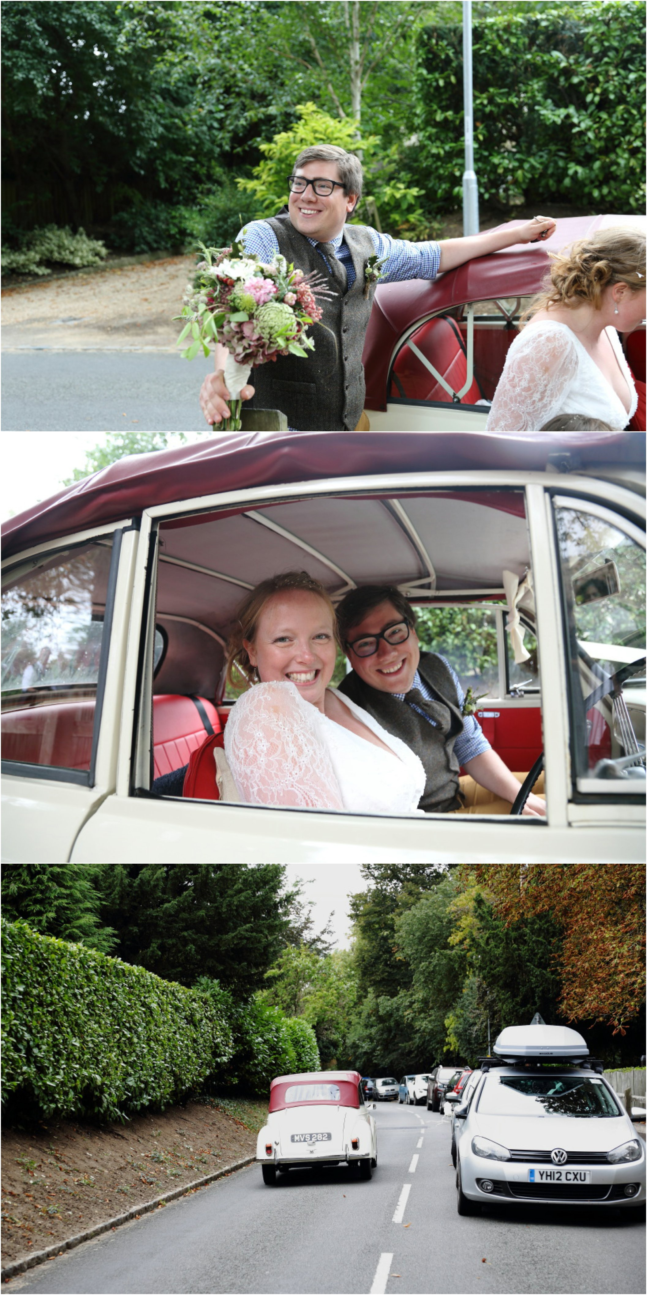 Happy groom holding bouquet, bride and groom in morris minor after relaxed wedding
