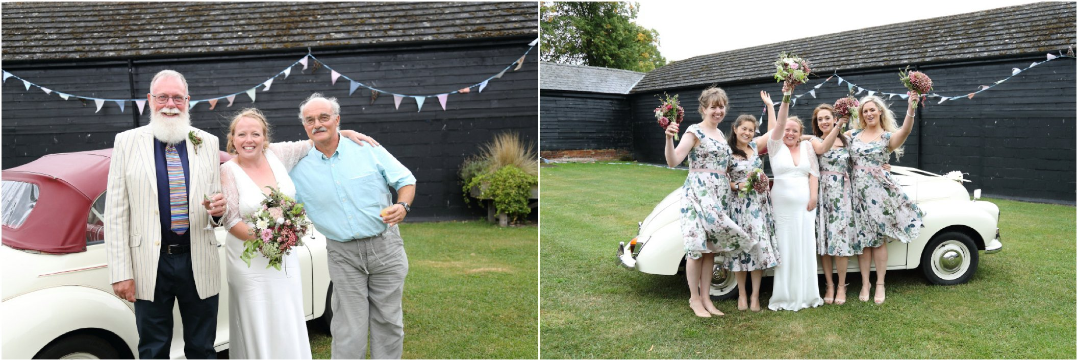 childerley wedding photography, cambridge. morris minor and floral bridesmaids dresses