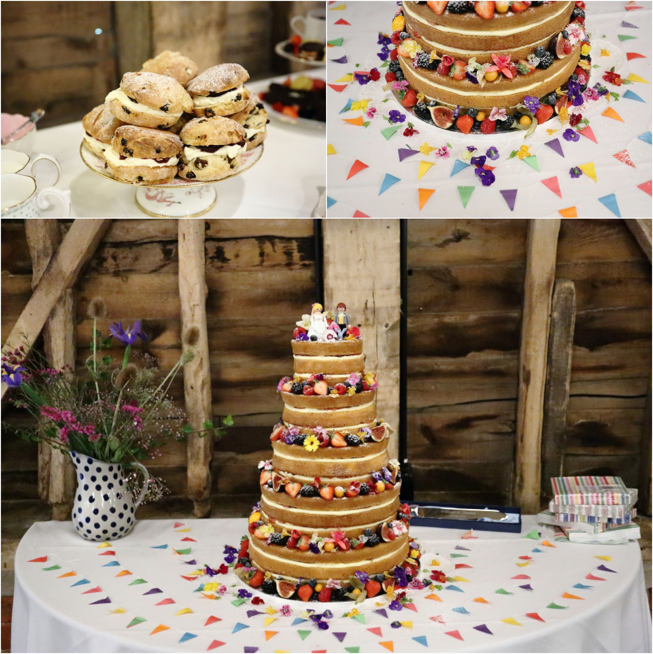 fruit covered naked wedding cake with 5 tiers at Childerley in Cambridge