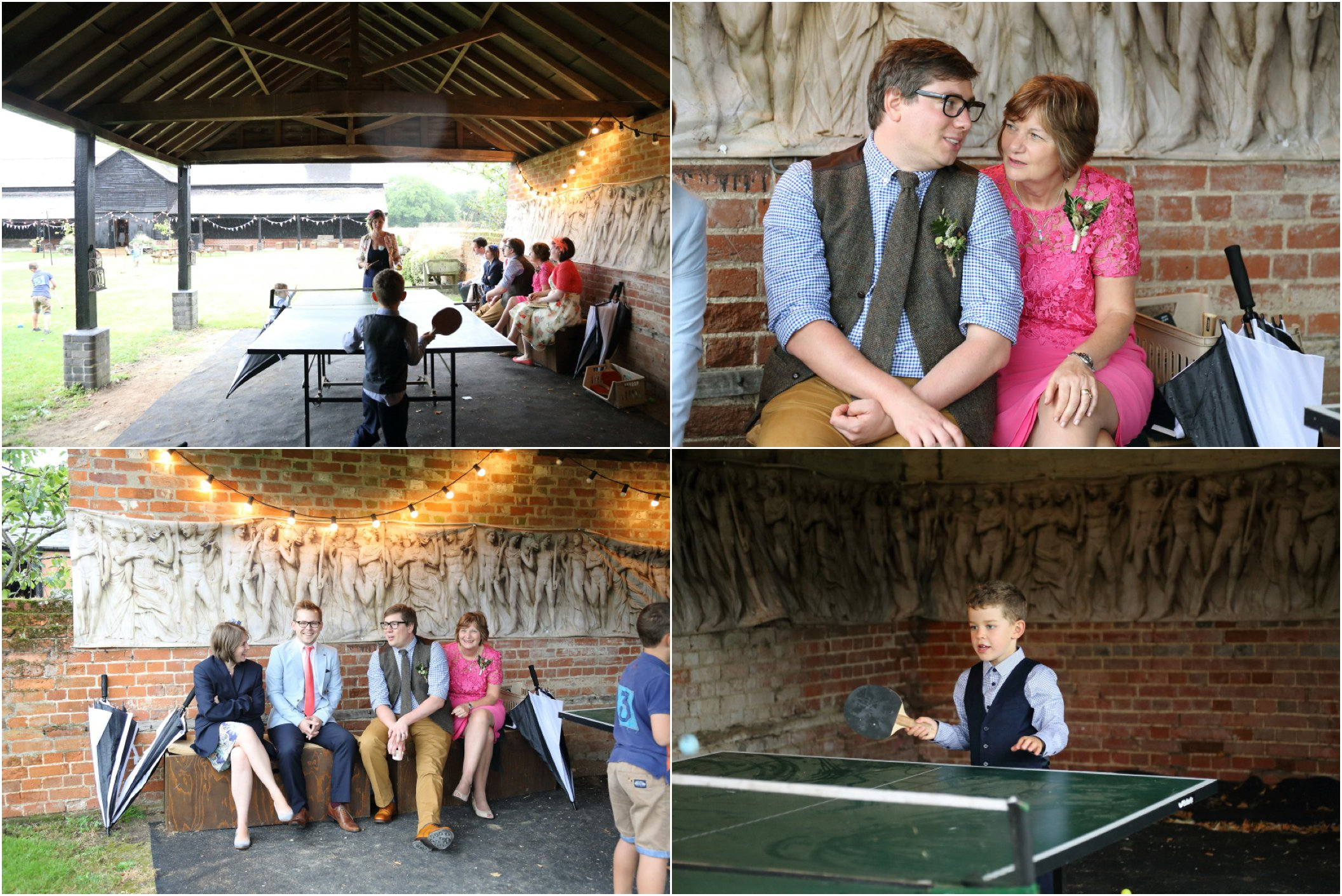 escaping the rain unter the shelter at Childerley Cambridge wedding