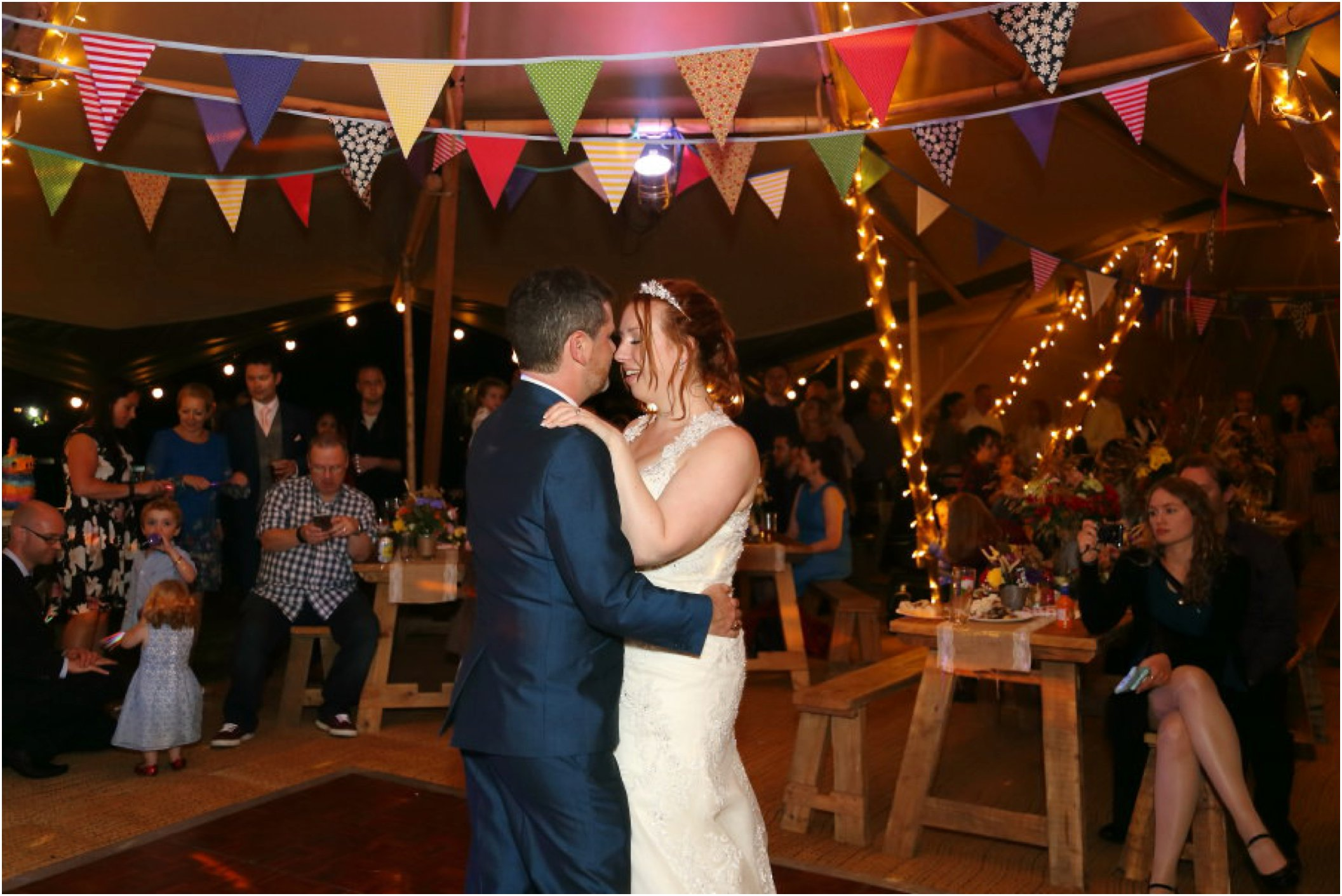 first dance at suffolk wedding, in tipi with bunting