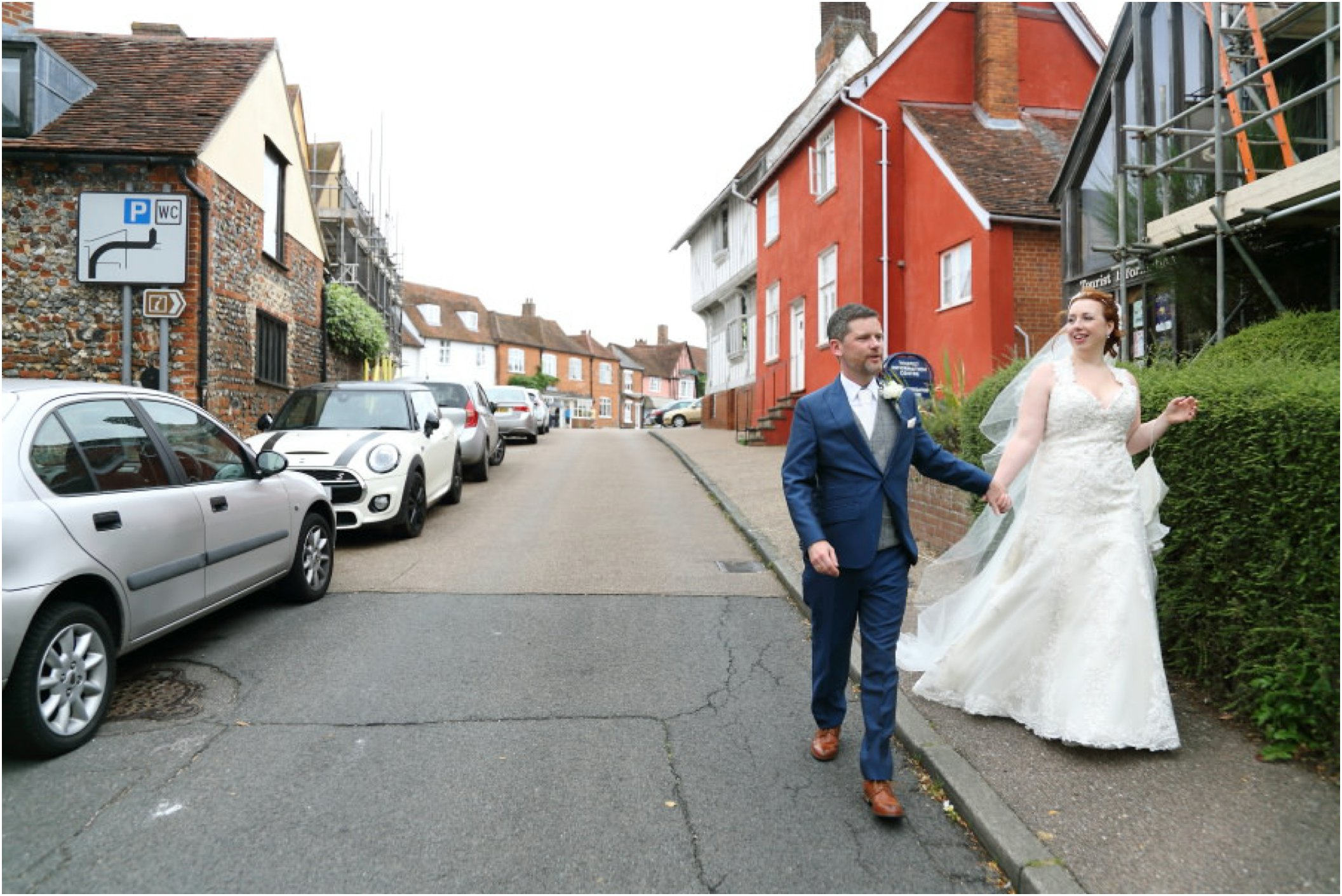 wedding photography in the street at lavenham