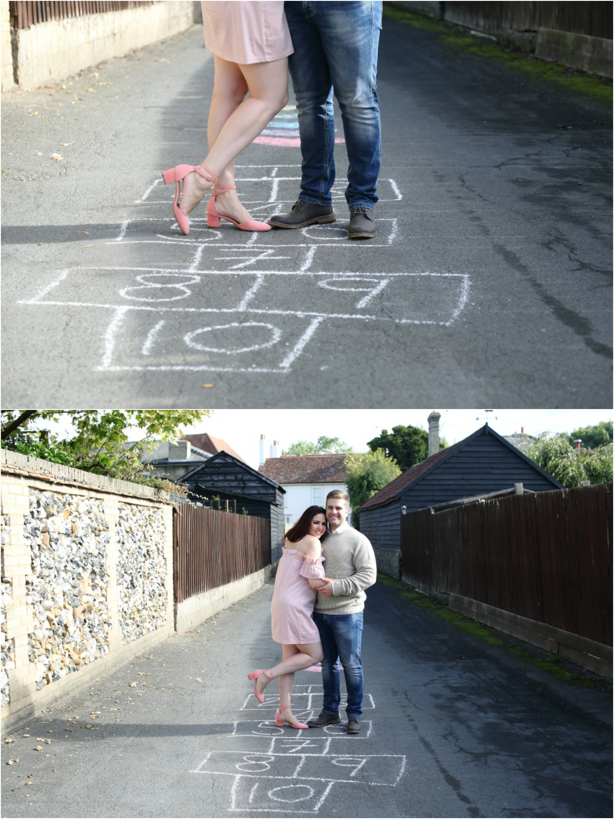 hop scotch chalked on the road at fun couples photo shoot in Cambridge
