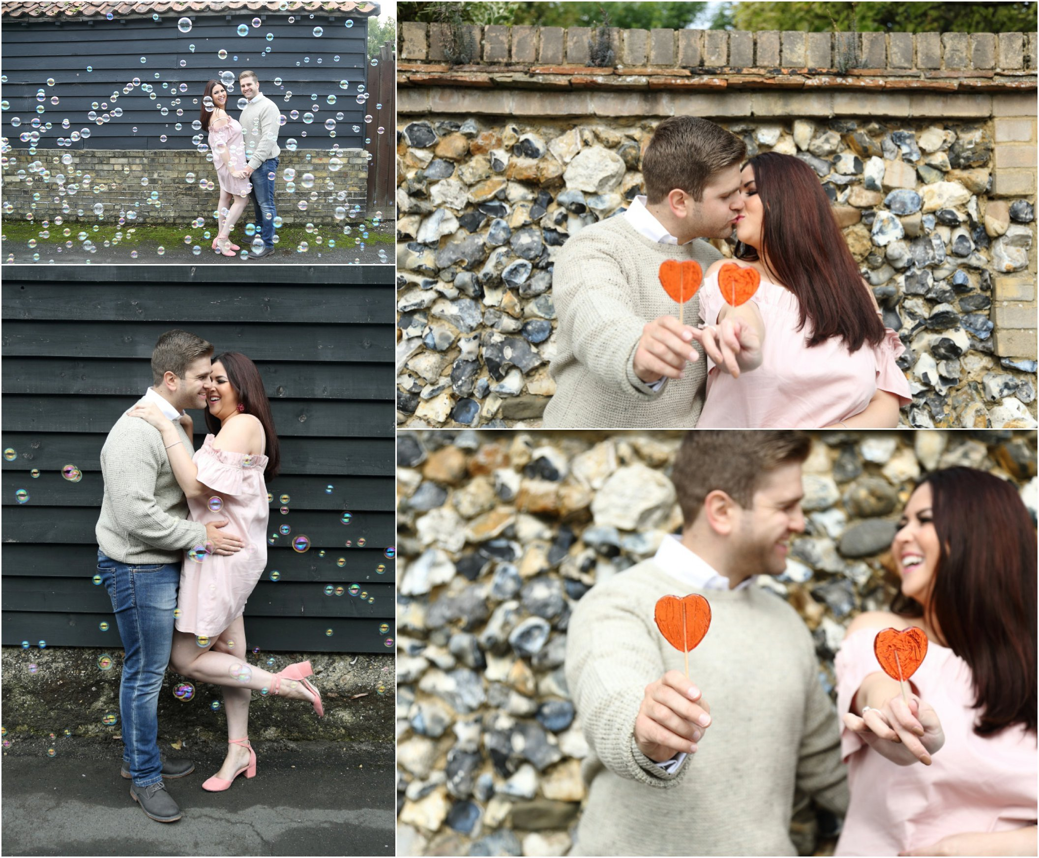 bubble machine and love heart lollys at romantic couples engage,ent photo shoot Cambridge
