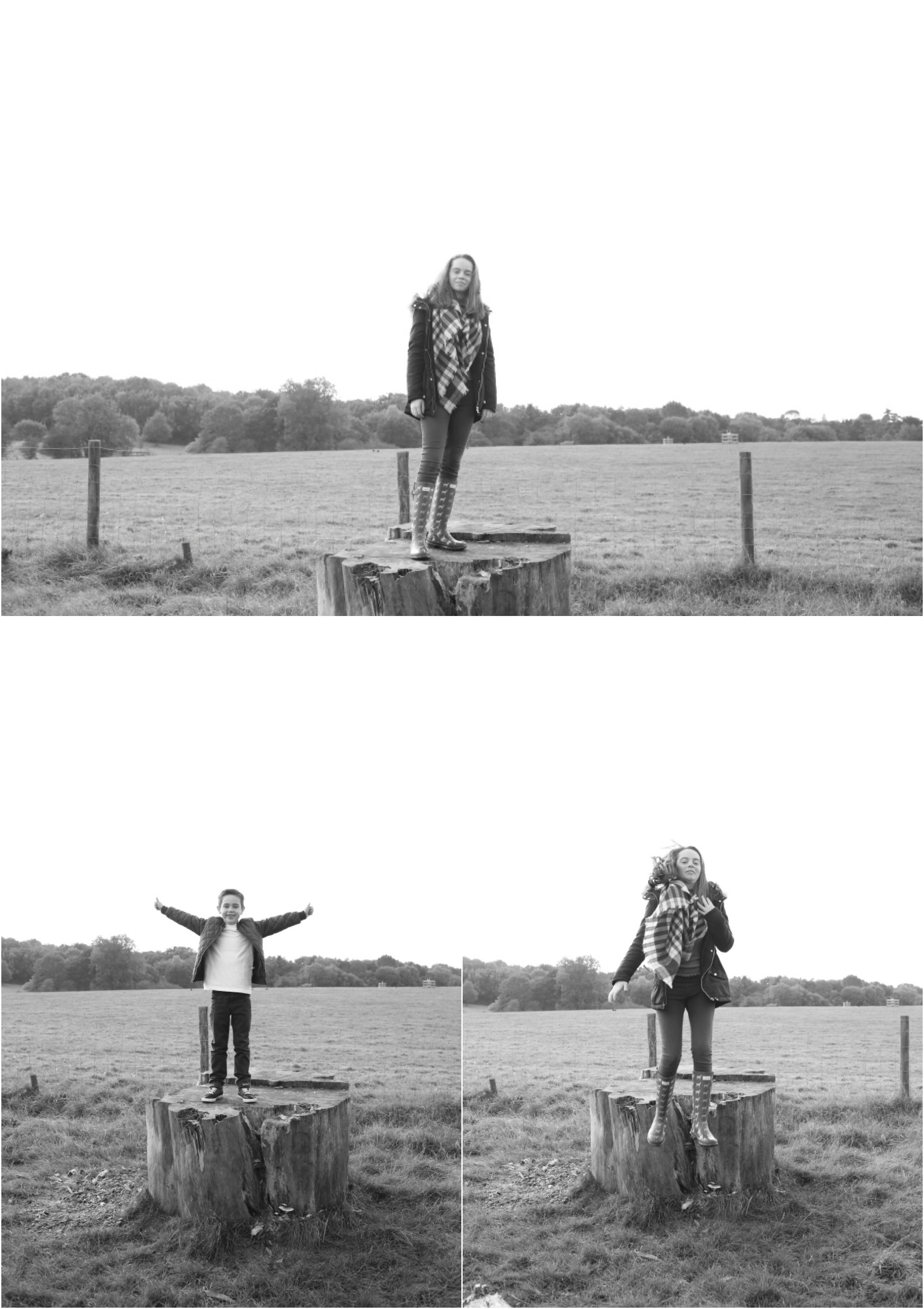 informal fun black and white family photography in ickworth, bury st edmunds