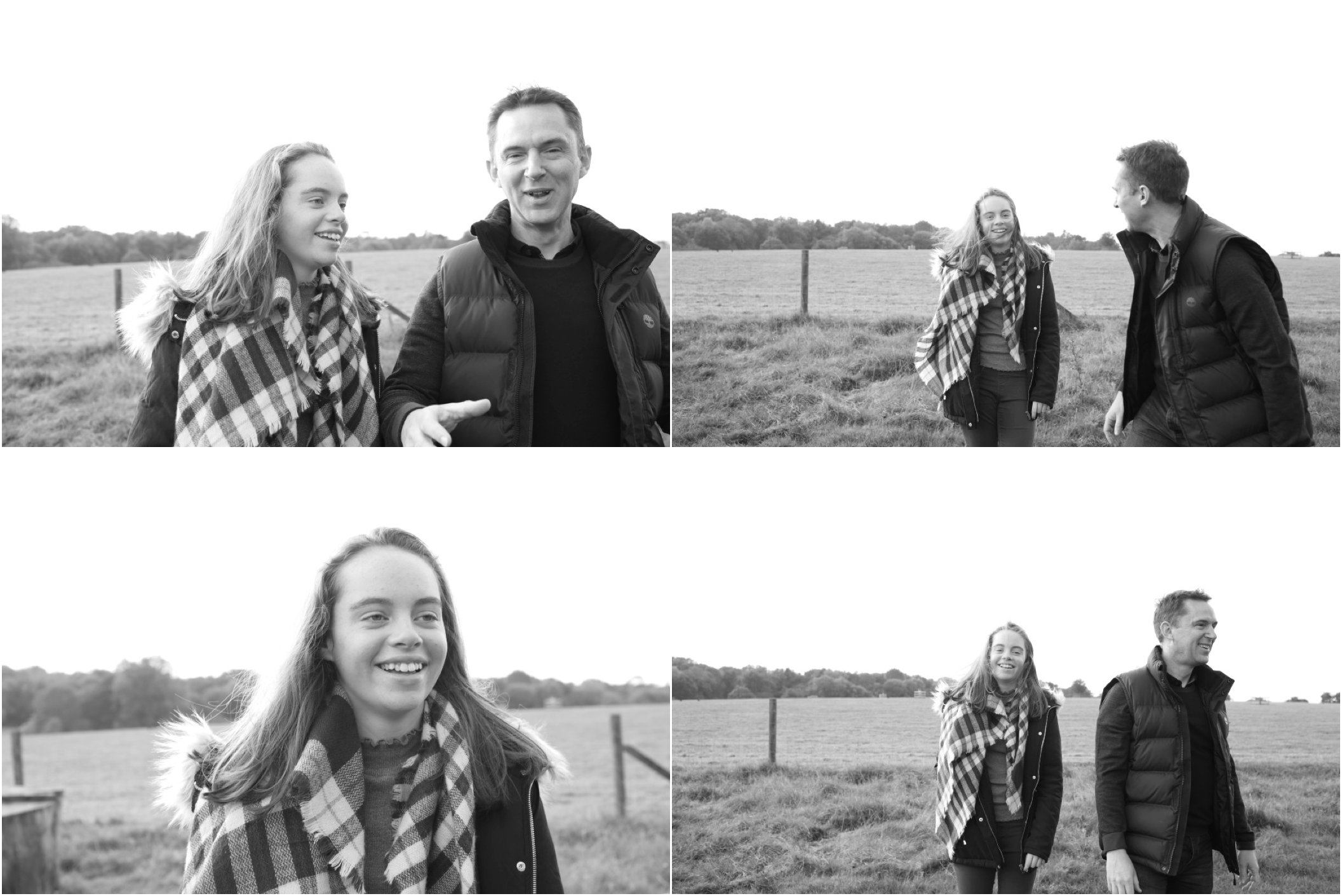 relaxed father and daughter portrait photography, in countryside in suffolk. black and white photography