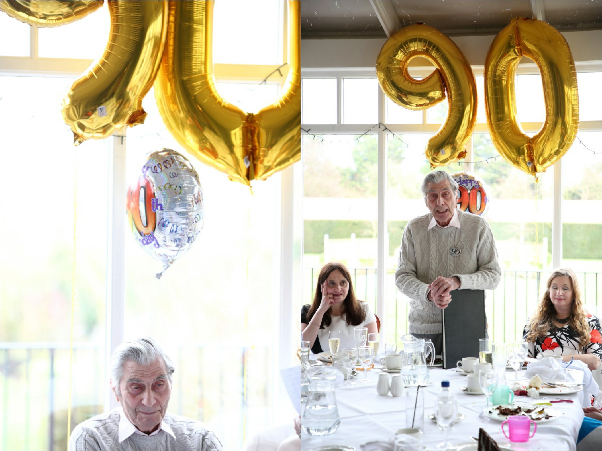giant gold balloons at 90th birthday party in busy st edmunds
