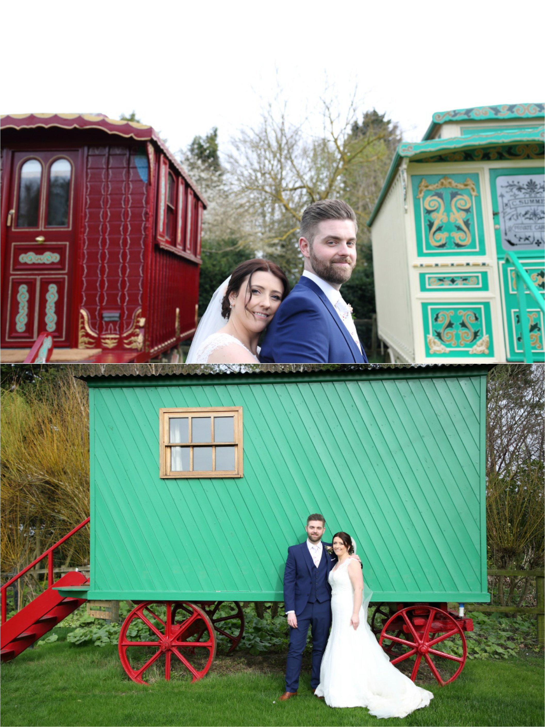 south farm wedding photography colourful gypsy caravans