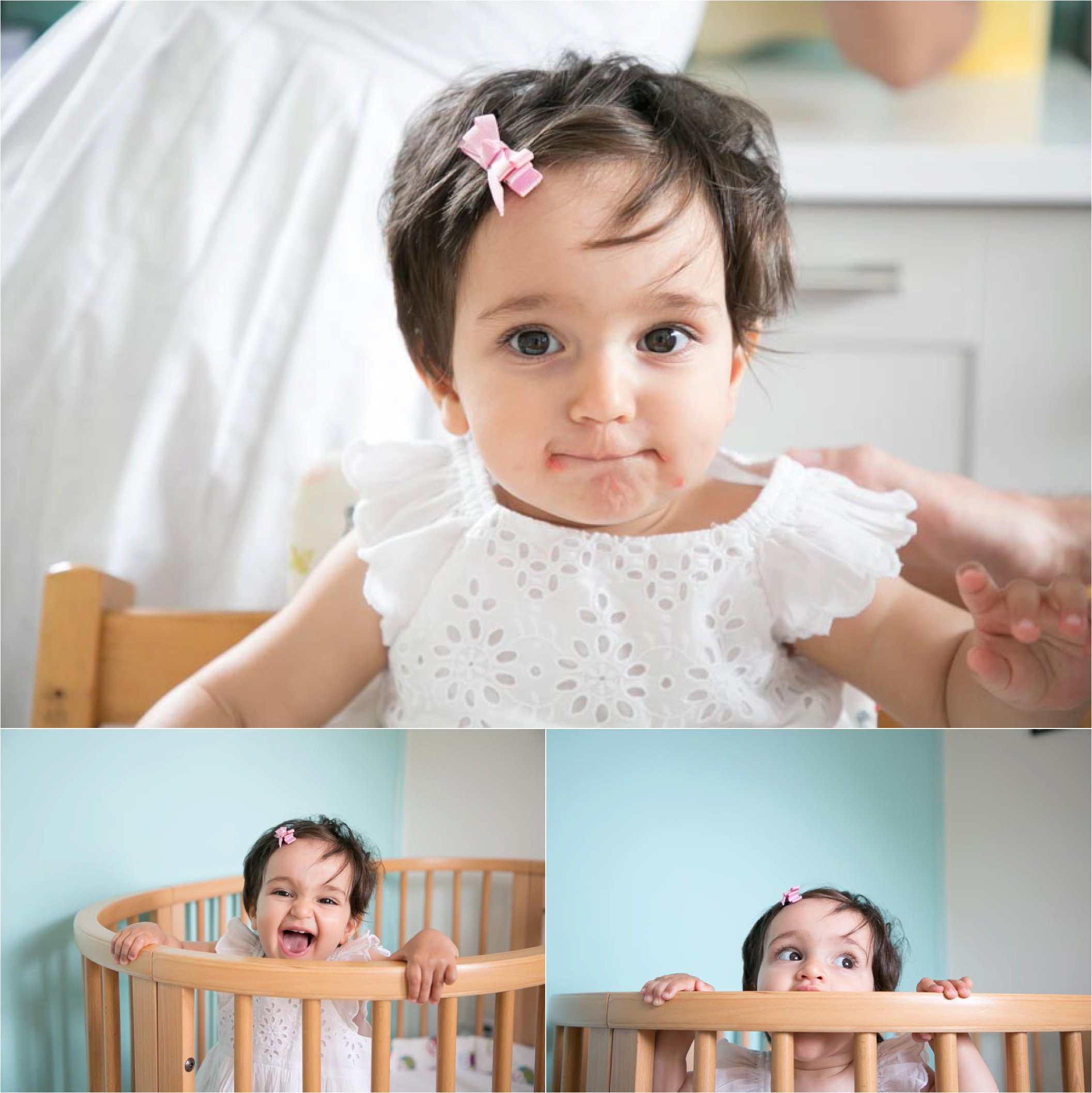 1st birthday photo shoot, in cot and eating cake, Cambridge photography