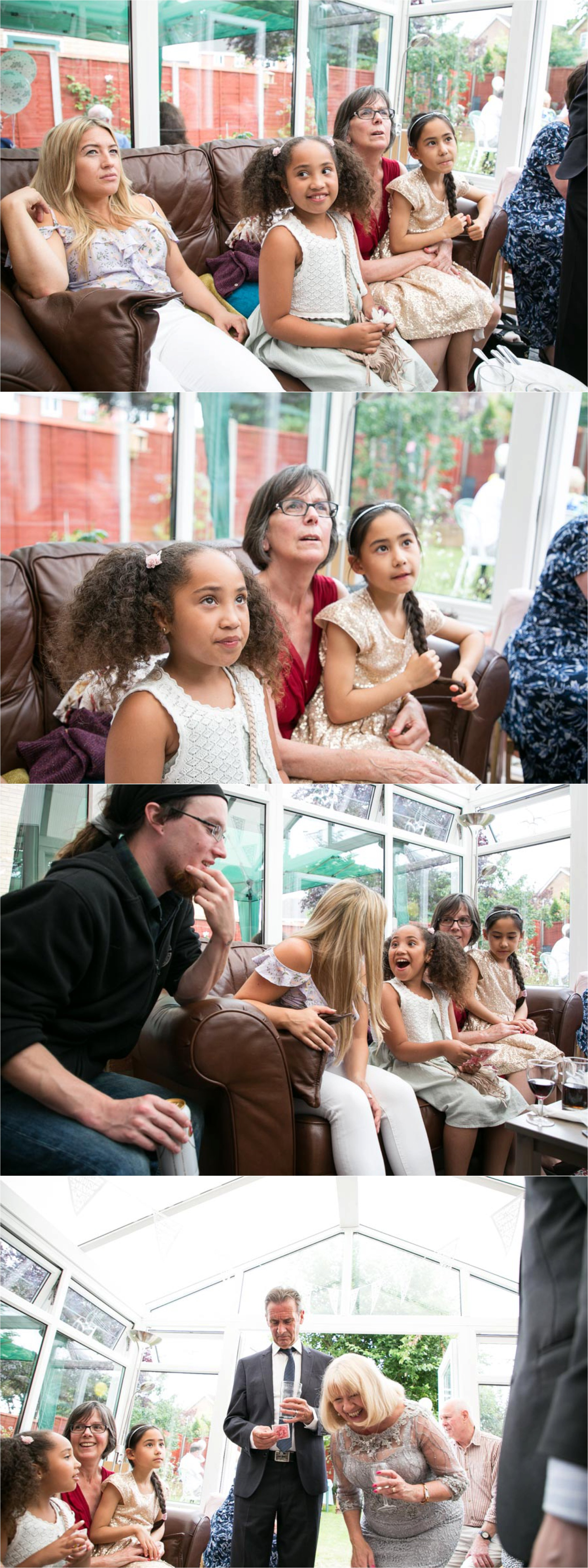 great reaction to a magician, relaxed suffolk wedding photography
