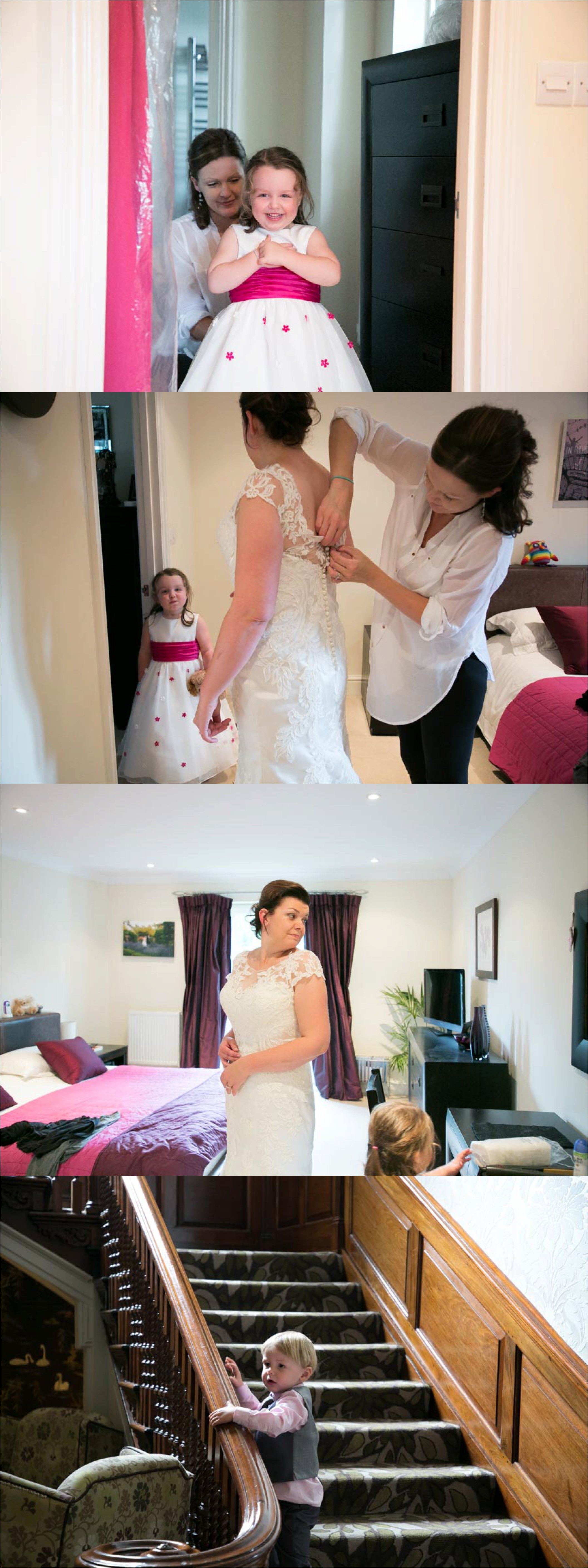 flowergirl in pink sash and bride getting ready at home in mildenhall