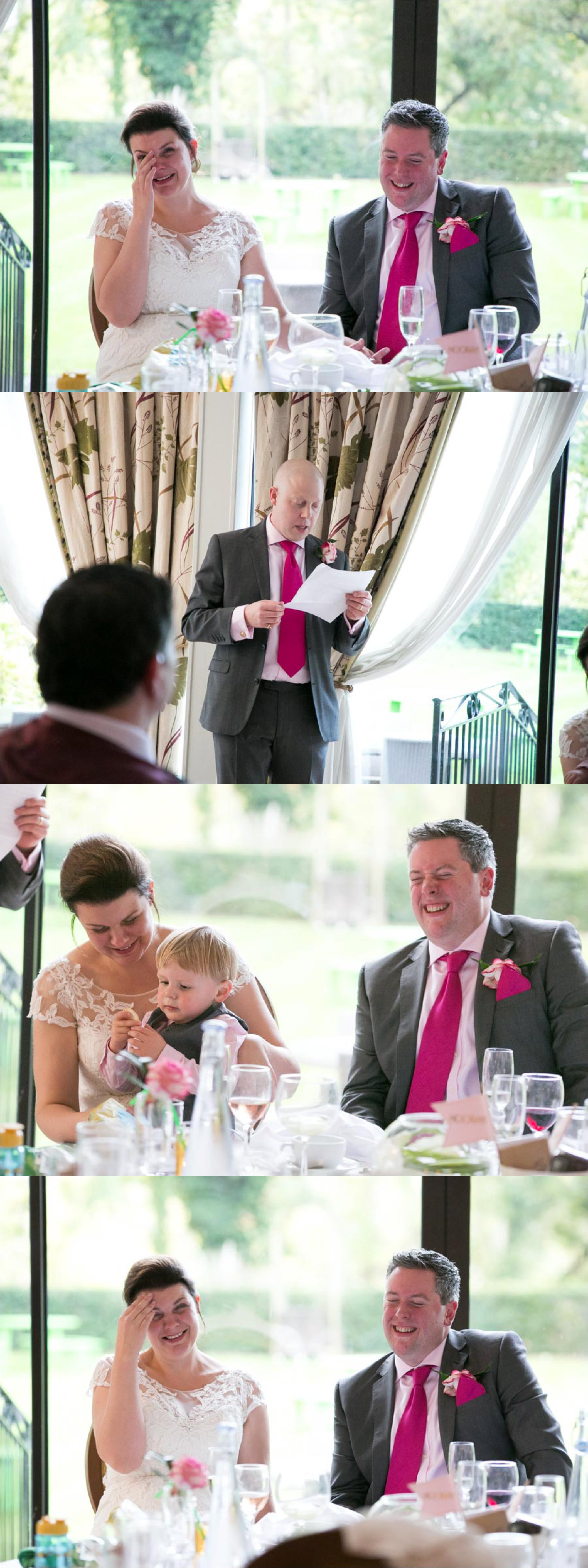 laughing at speeches at mildenhall hotel wedding suffolk