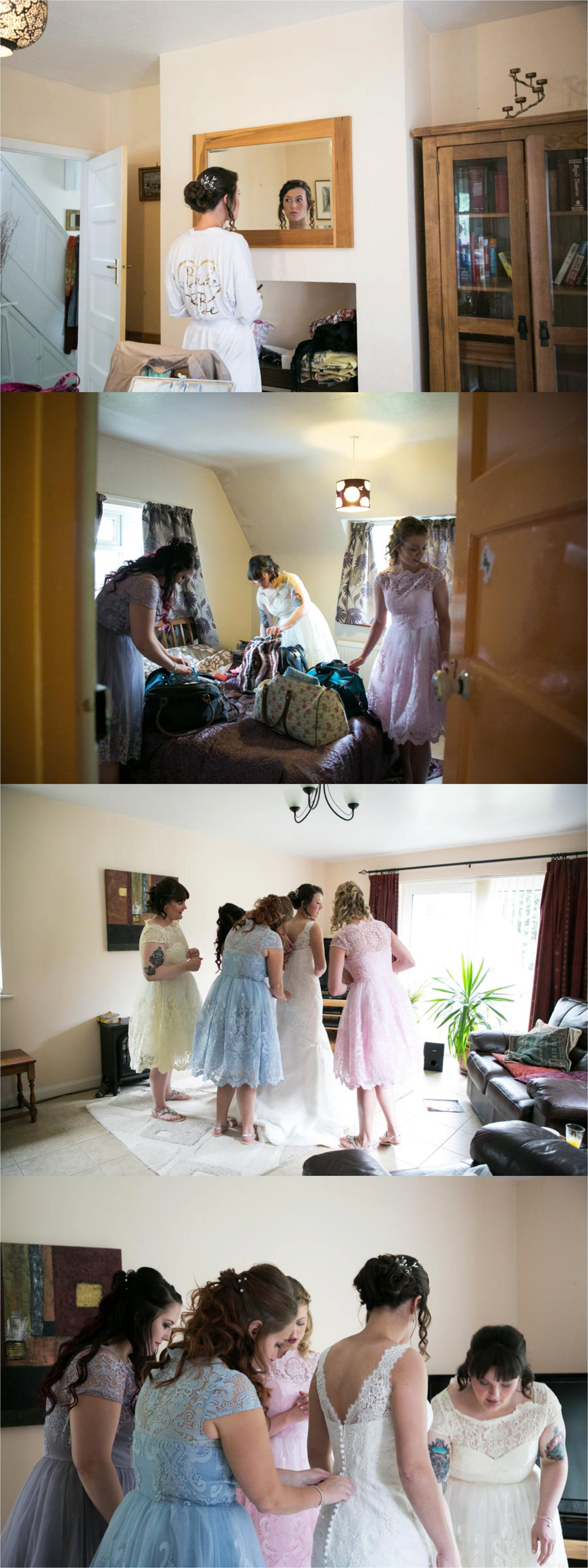 bride and bridesmaids in pastel colour dresses