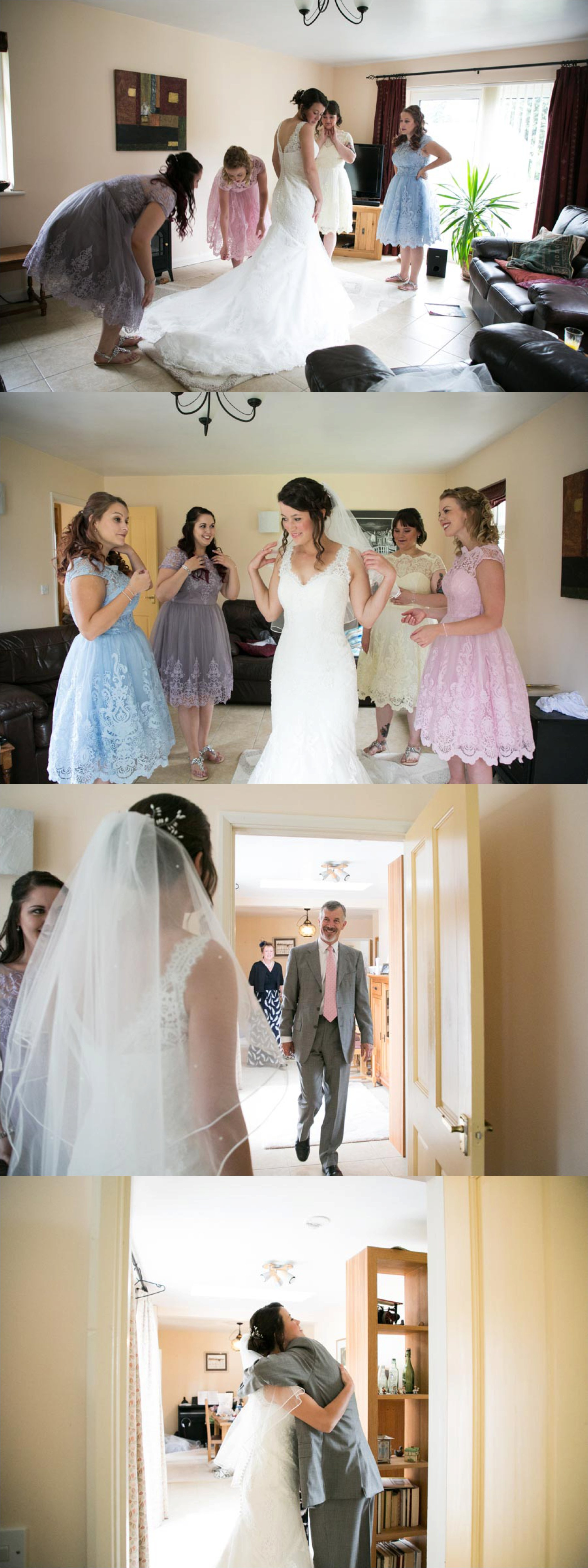 bride and pastel colour bridesmaids, seeing father for first time