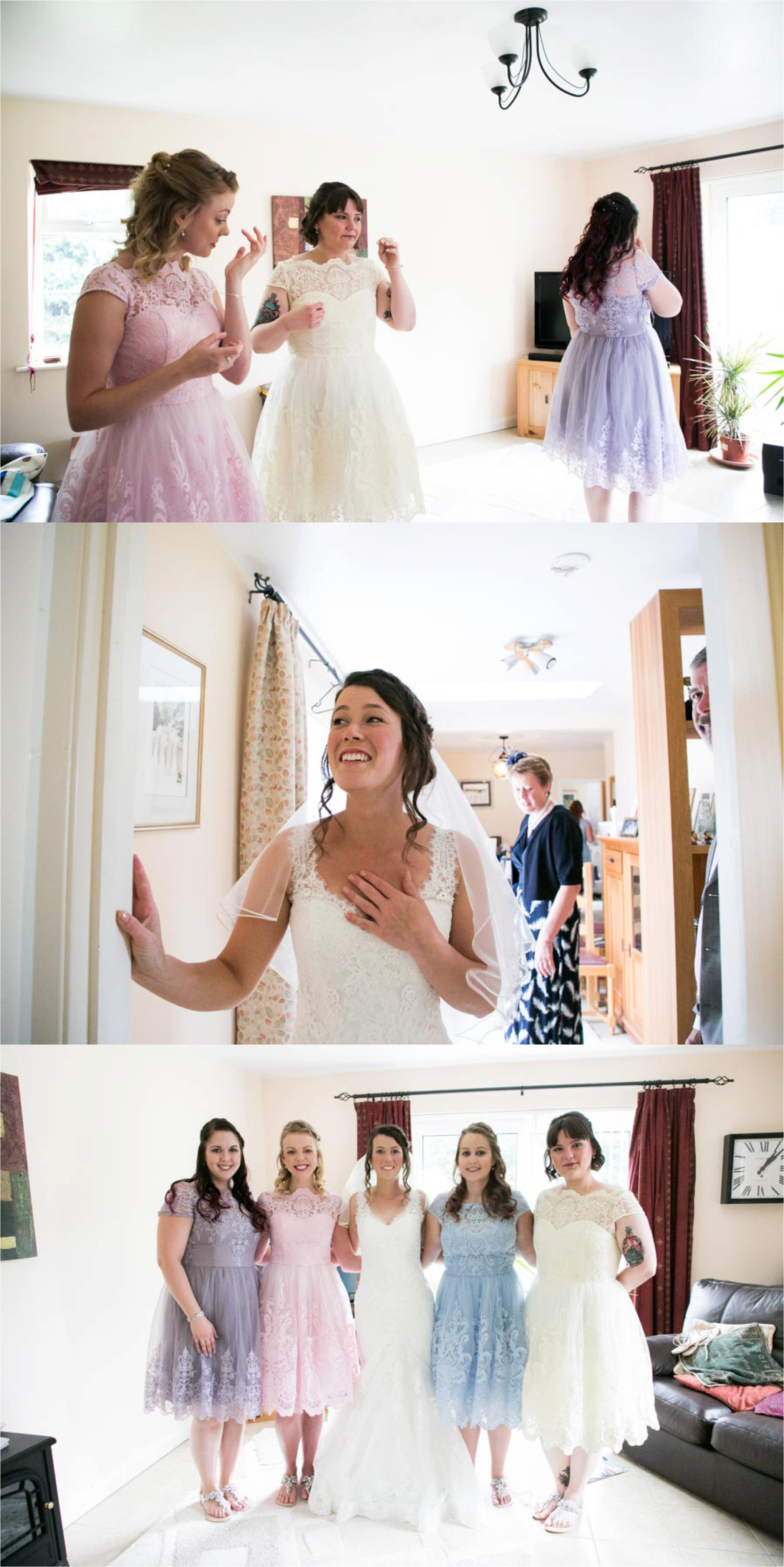 emotional bride and pastel shades on bridesmaids