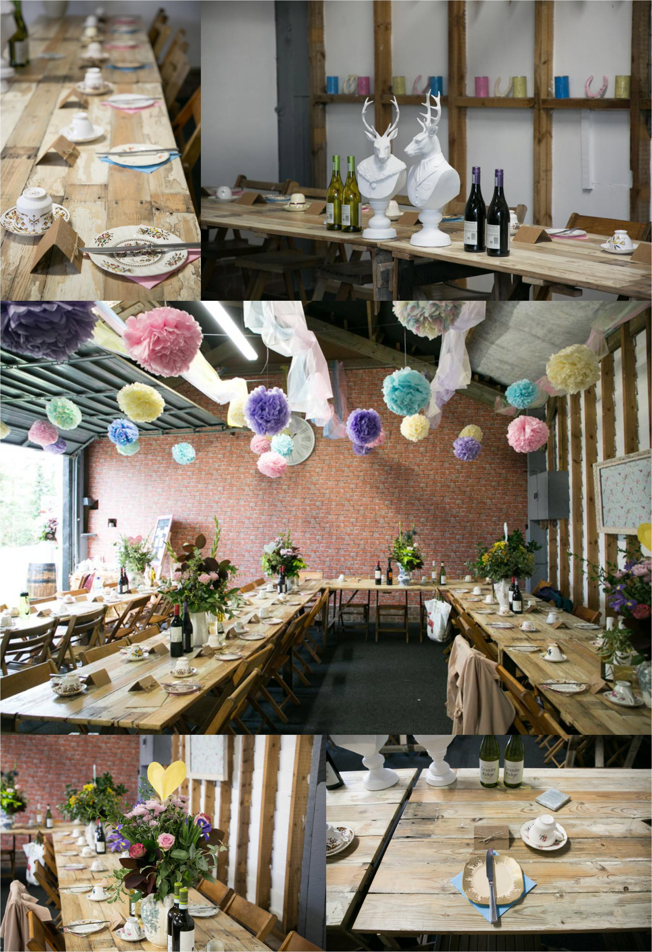 quirky rusitic farm wedding, pastel colour pom poms and trestle tables