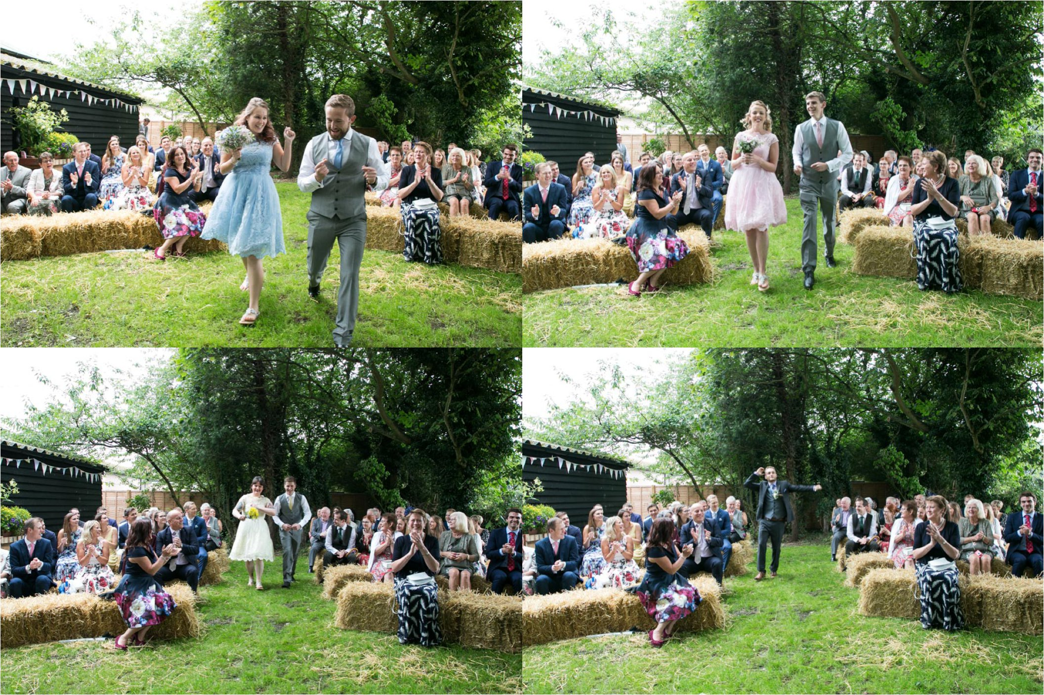 dancing down the out door aisle to wedding, suffolk farm wedding