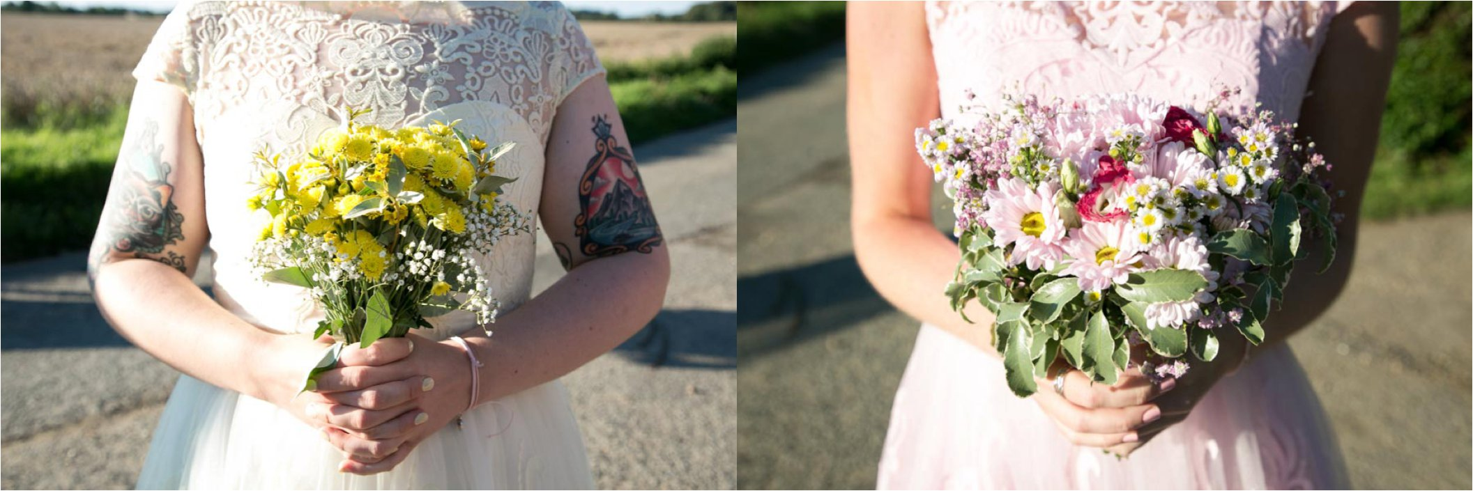 pastel bridesmaids and flowers