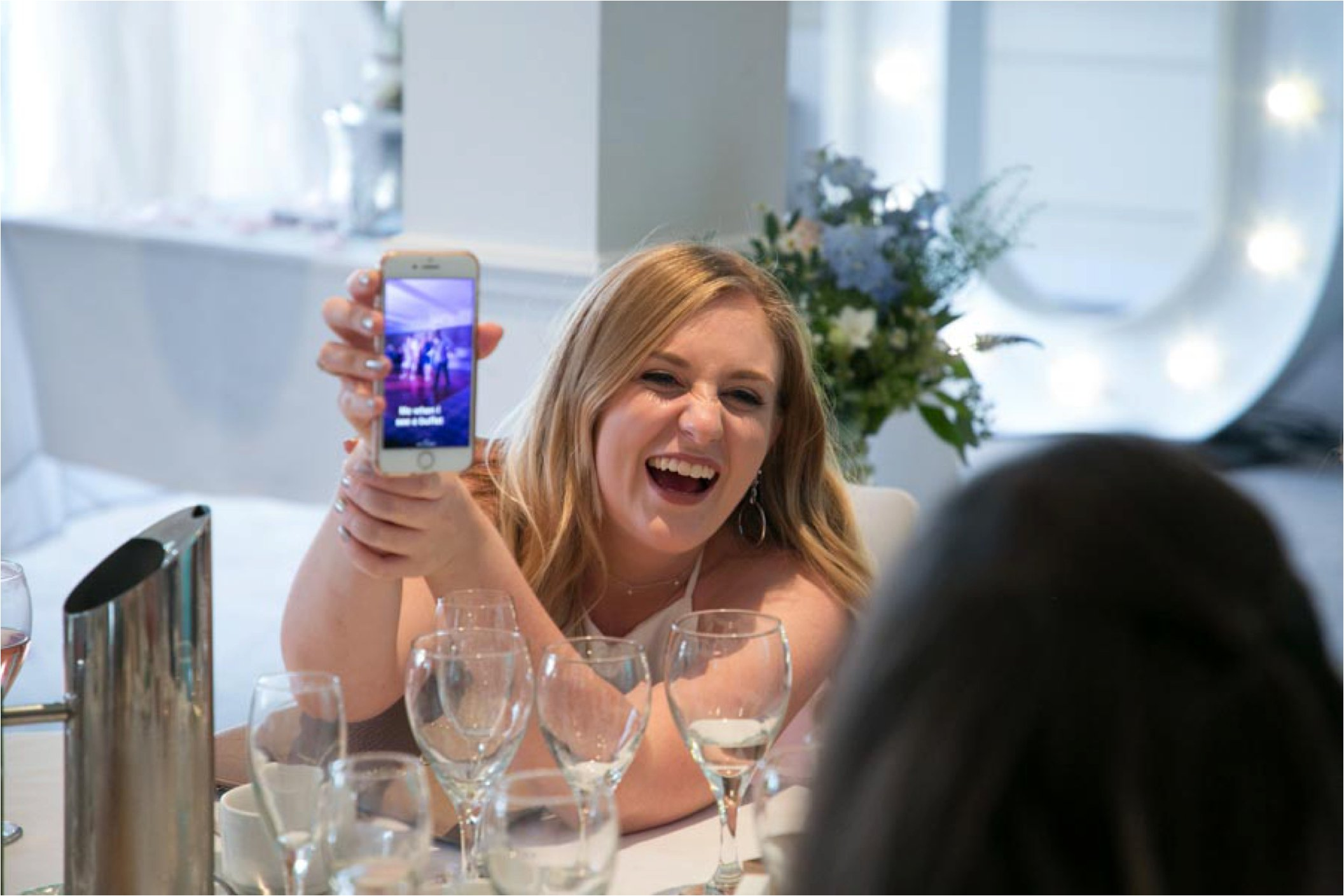 laughing guest at stoke by nayland wedding
