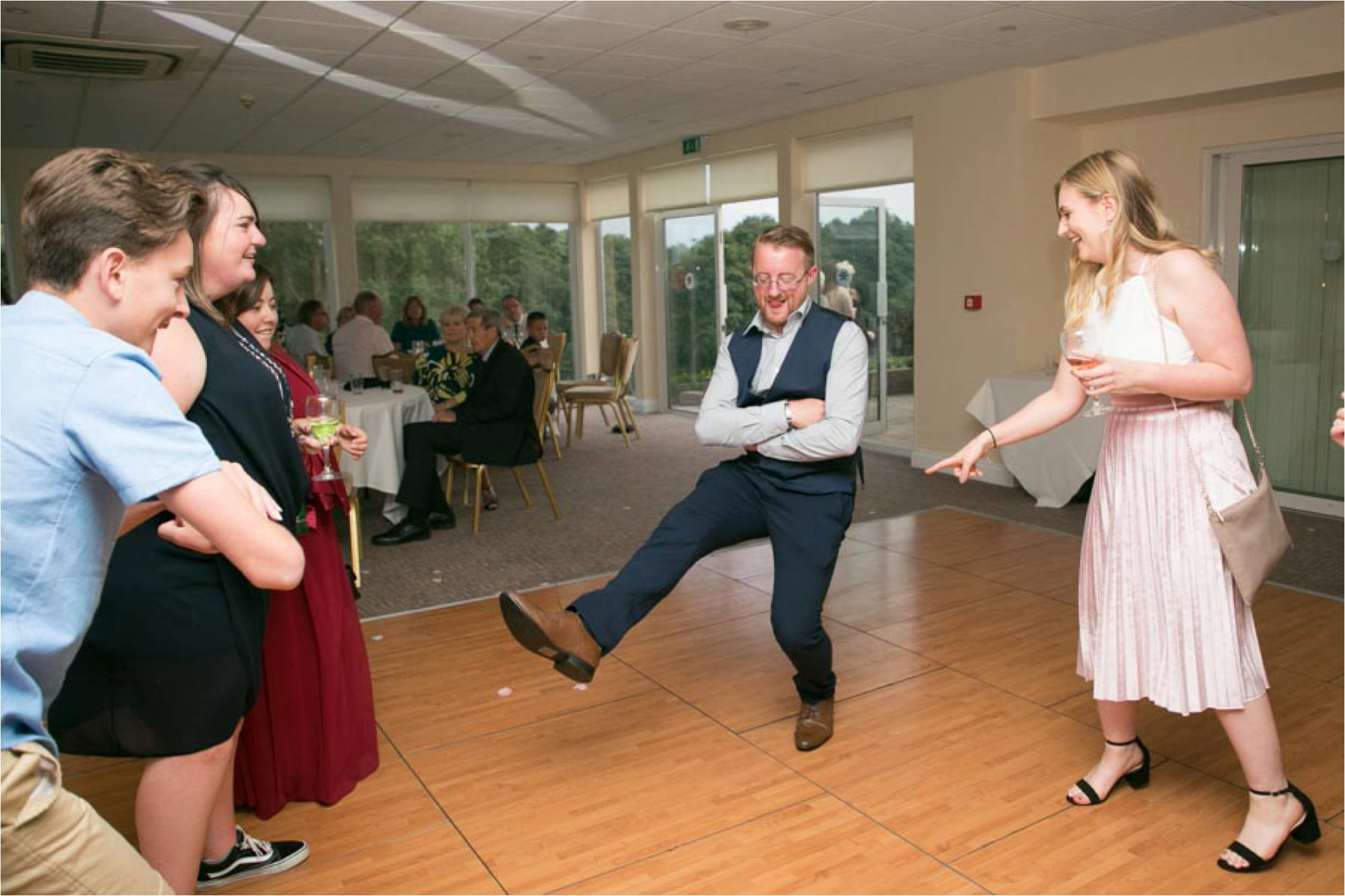 russion dancing at stoke by nayland wedding