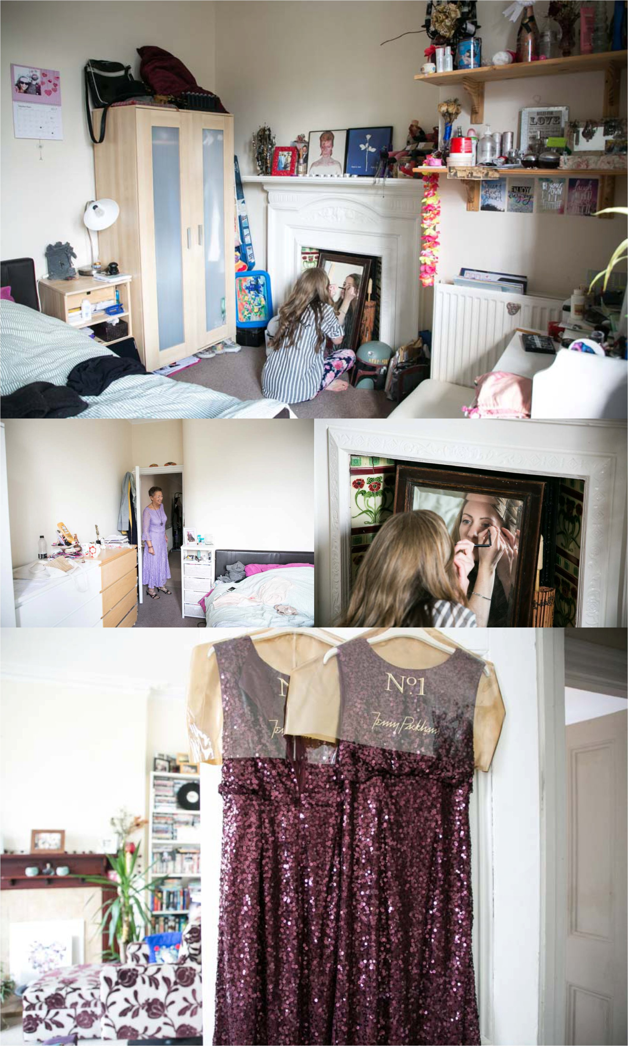 bride getting ready at home in Londonf or fun quirky wedding