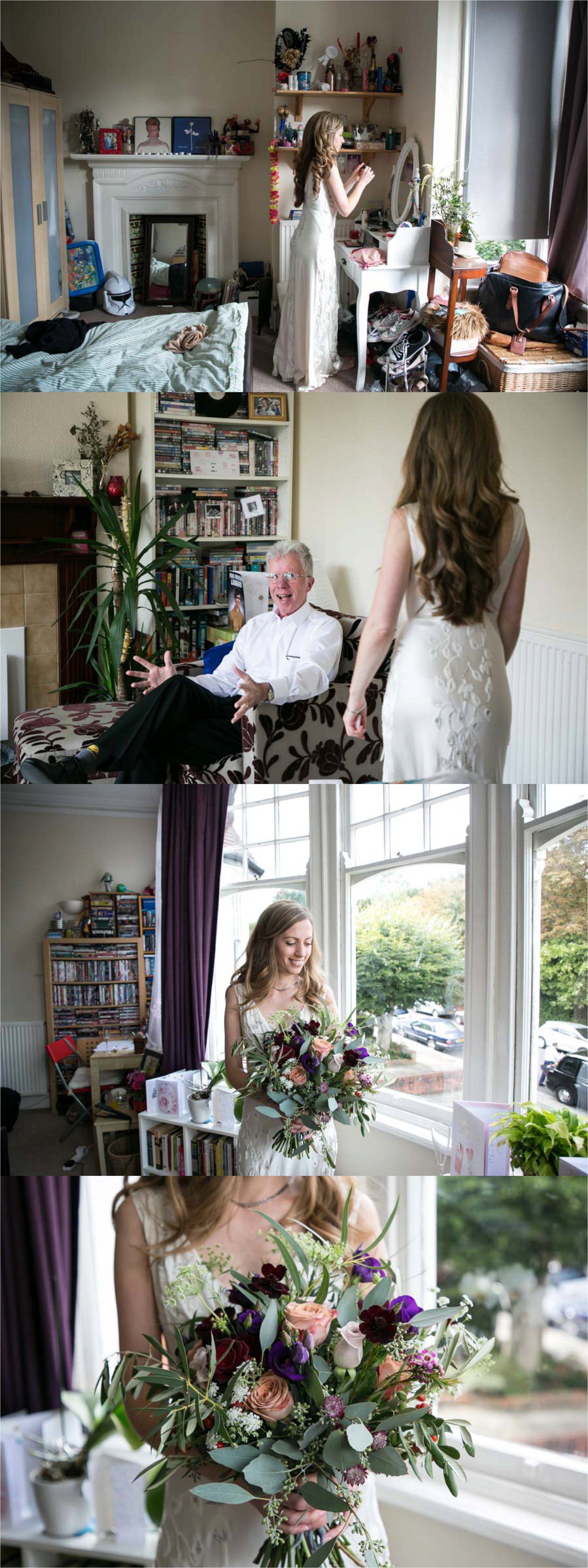 bride in jenny packham dress getting ready for wedding at home in london