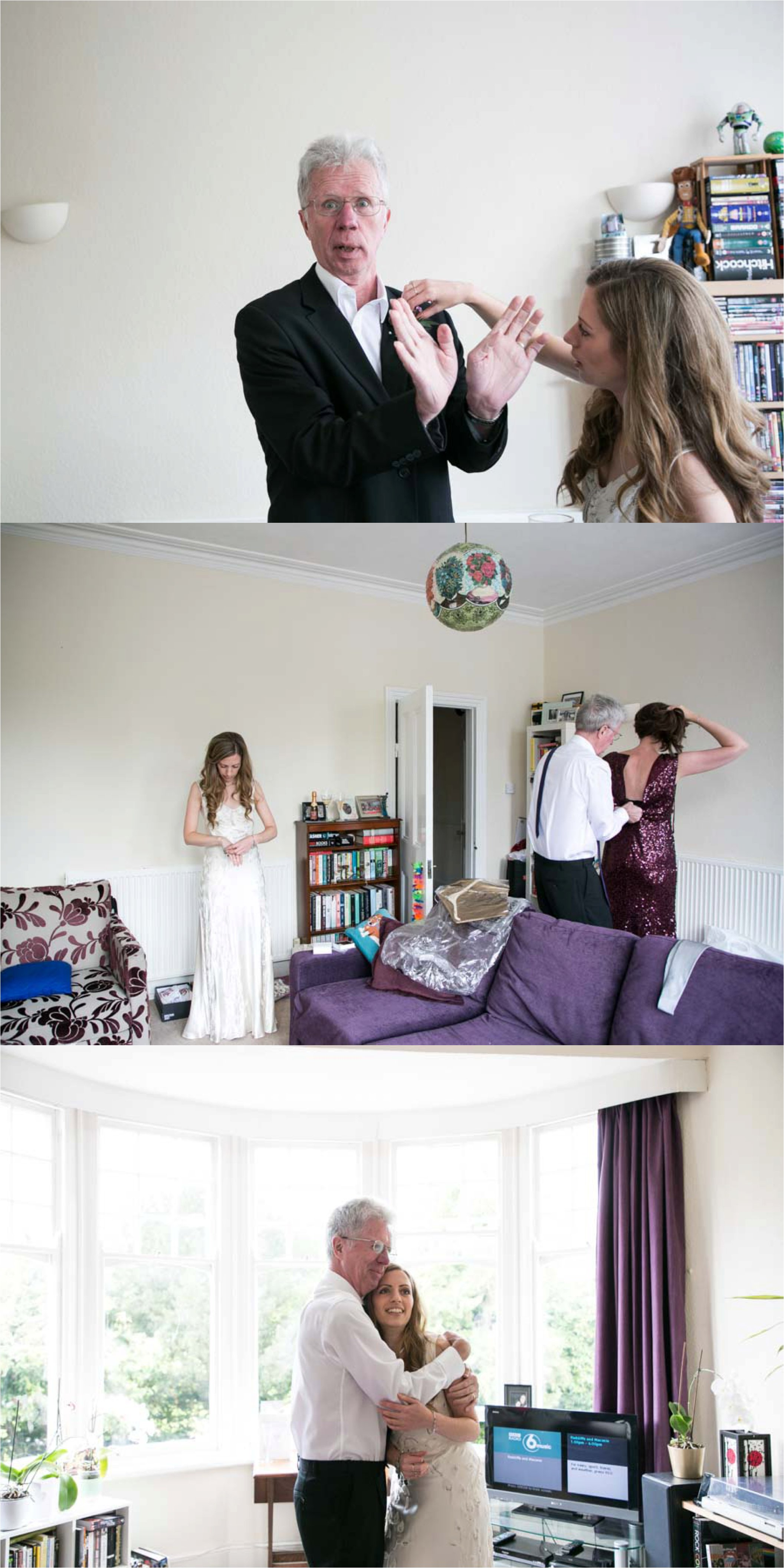 funny quirky bride and father of bride getting ready at home in london