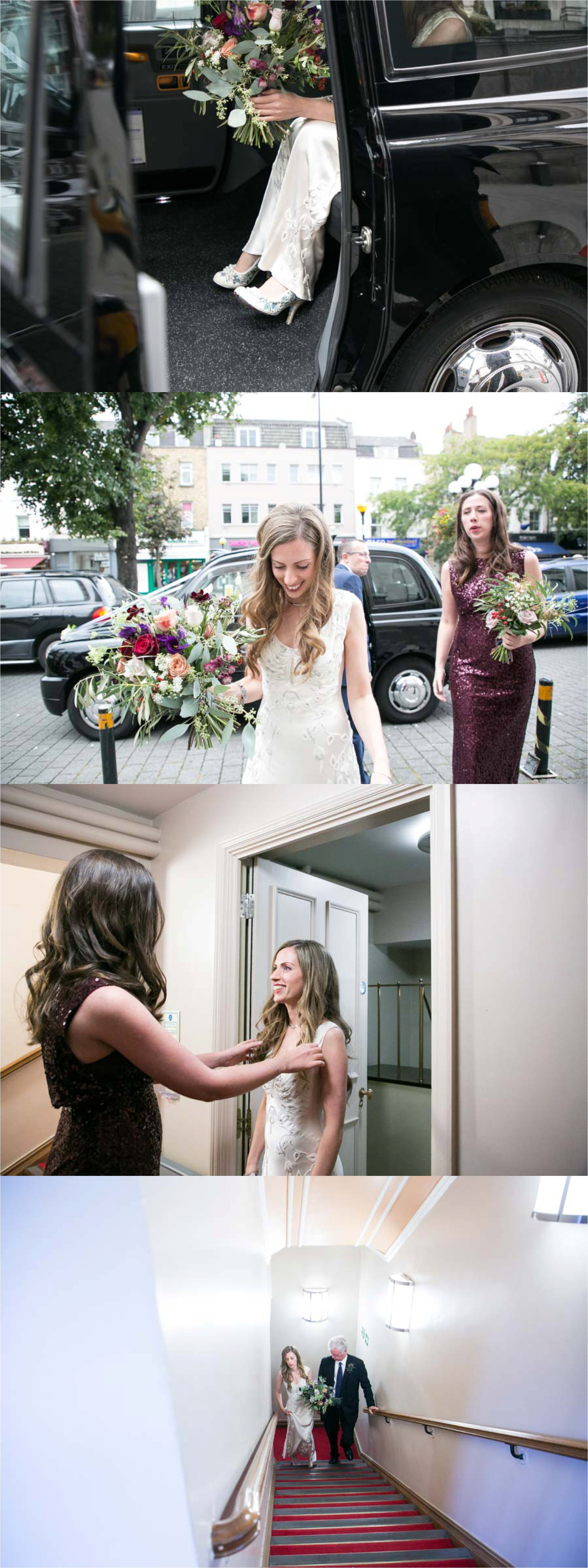 bride arriving at islington assembly rooms wedding in jenny packham dress