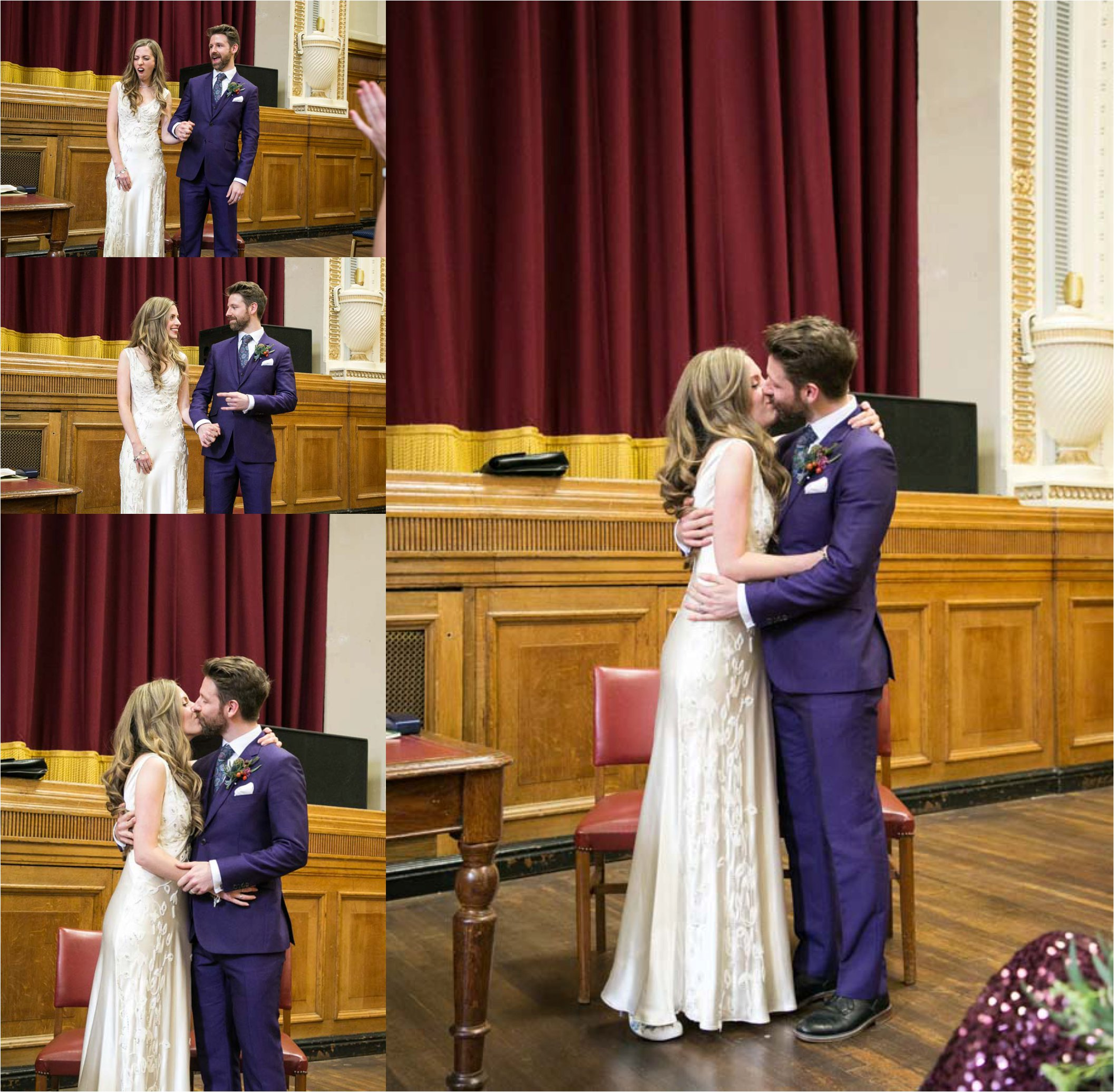 grooms purple suit at islington assembly hall wedding photography