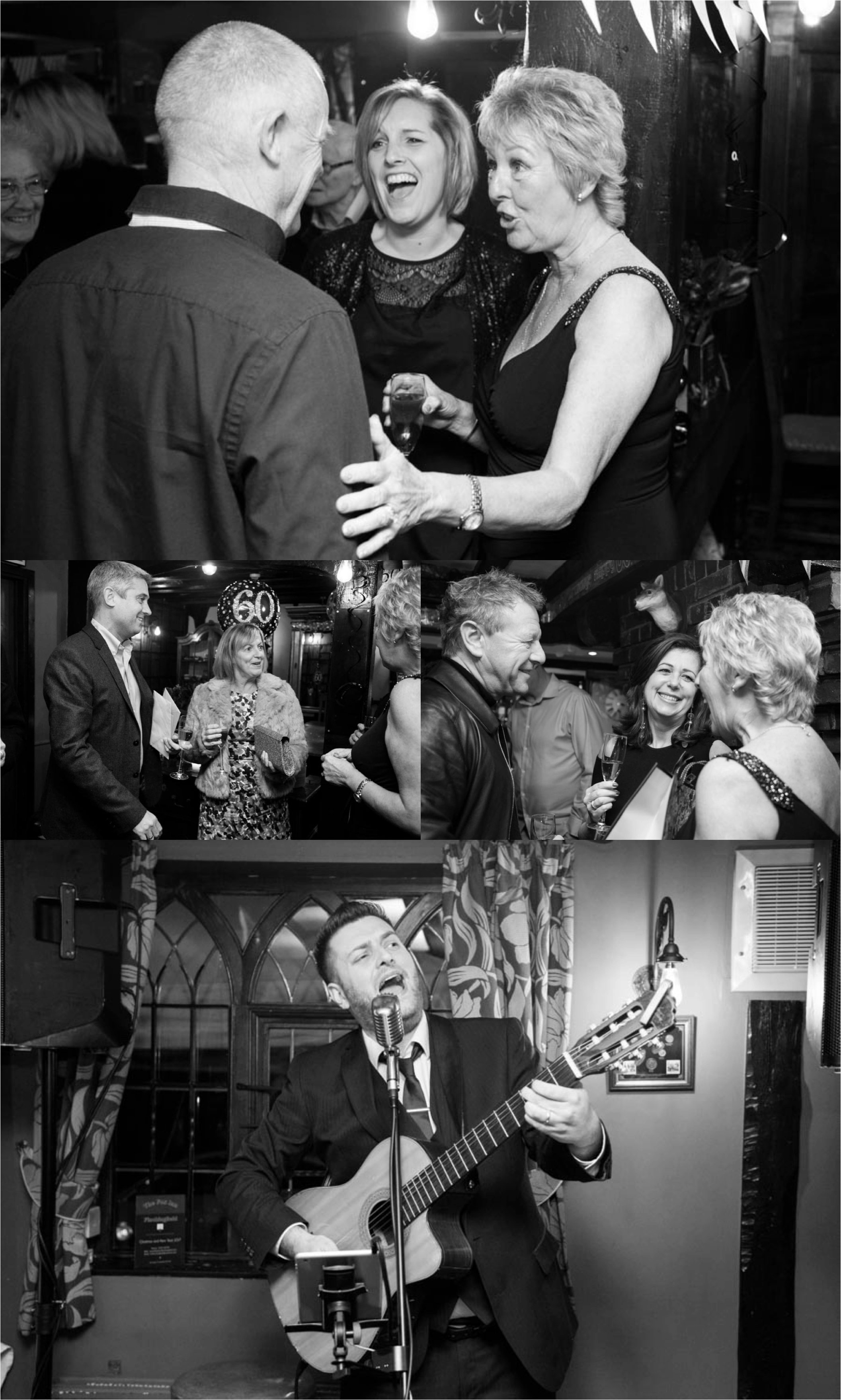 black and white photography at 60th birthday party in finchingfield