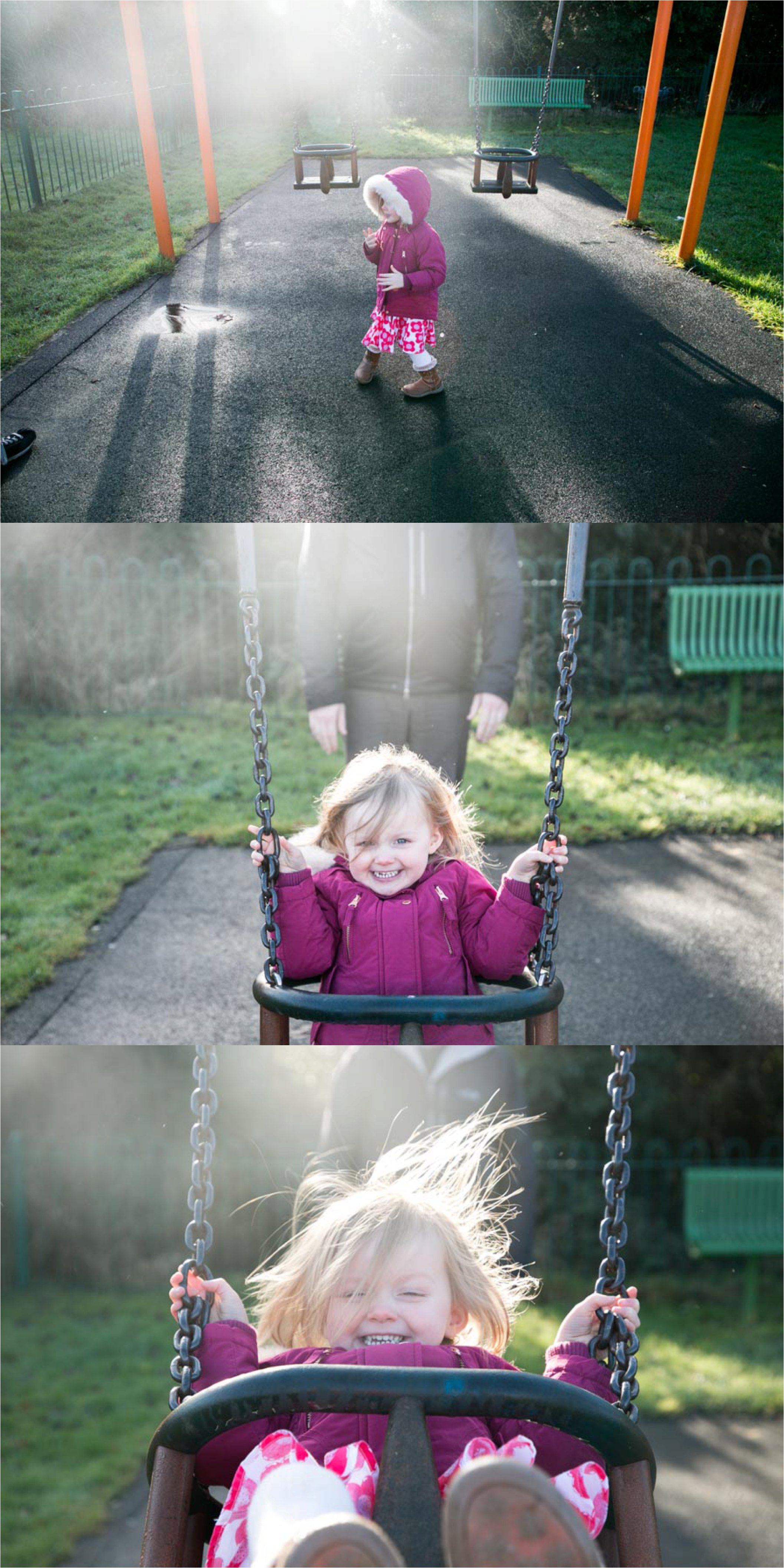 playing at the park for a fun documentary family photography session