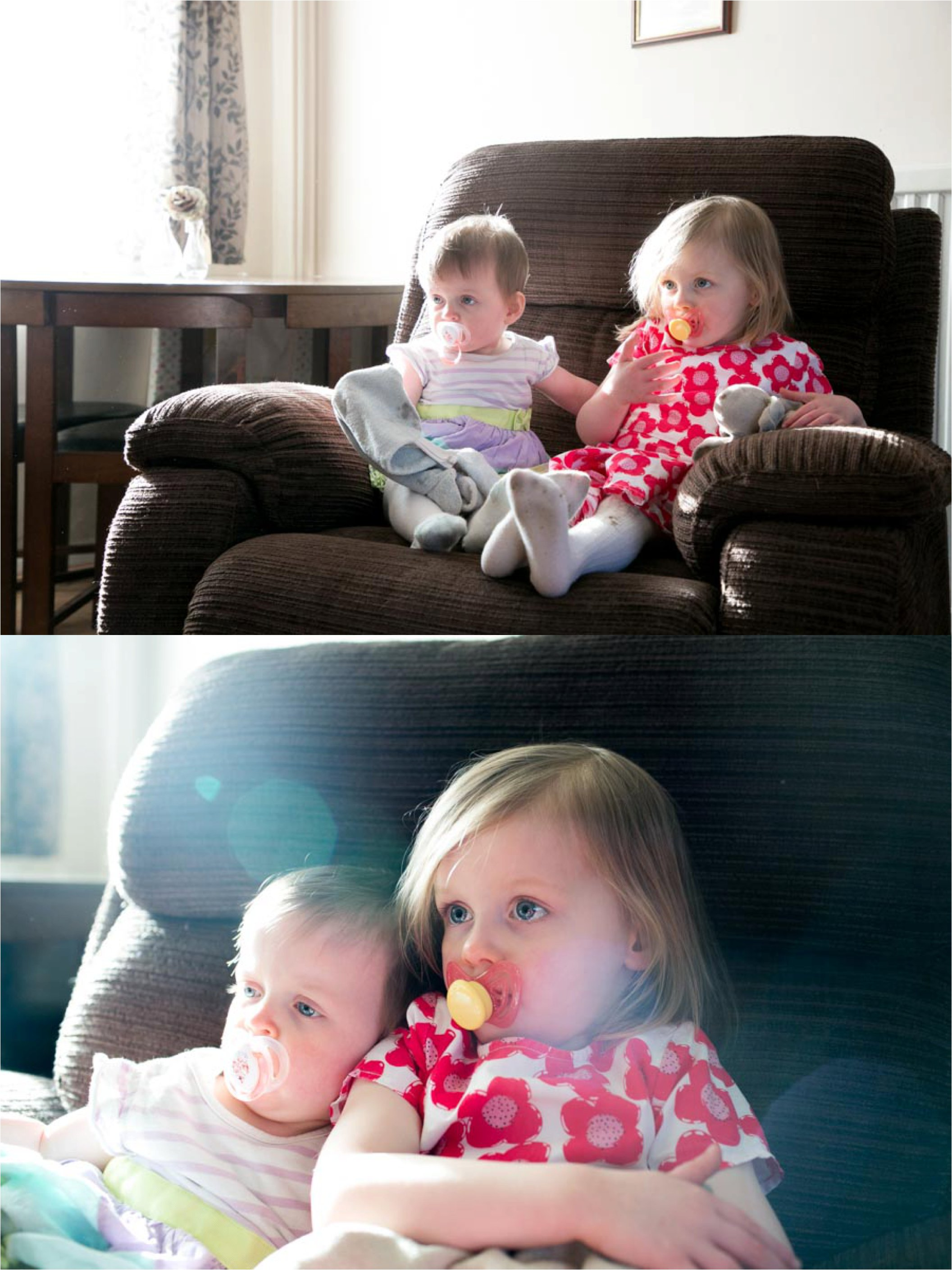 sisters relaxing at home at family photography session, suffolk