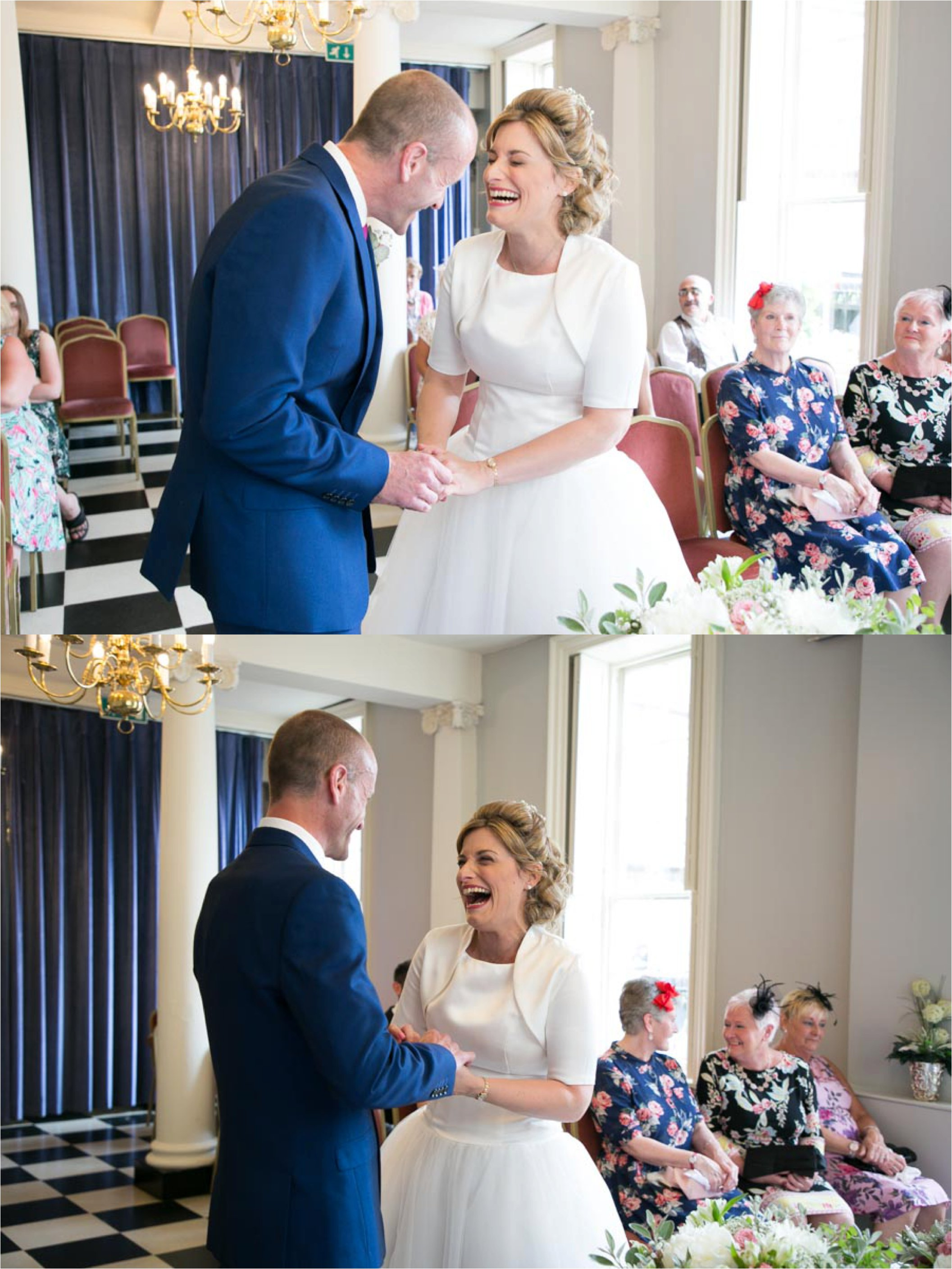 laughing couple at Athenaeum intimate wedding ceremony, Bury St Edmunds