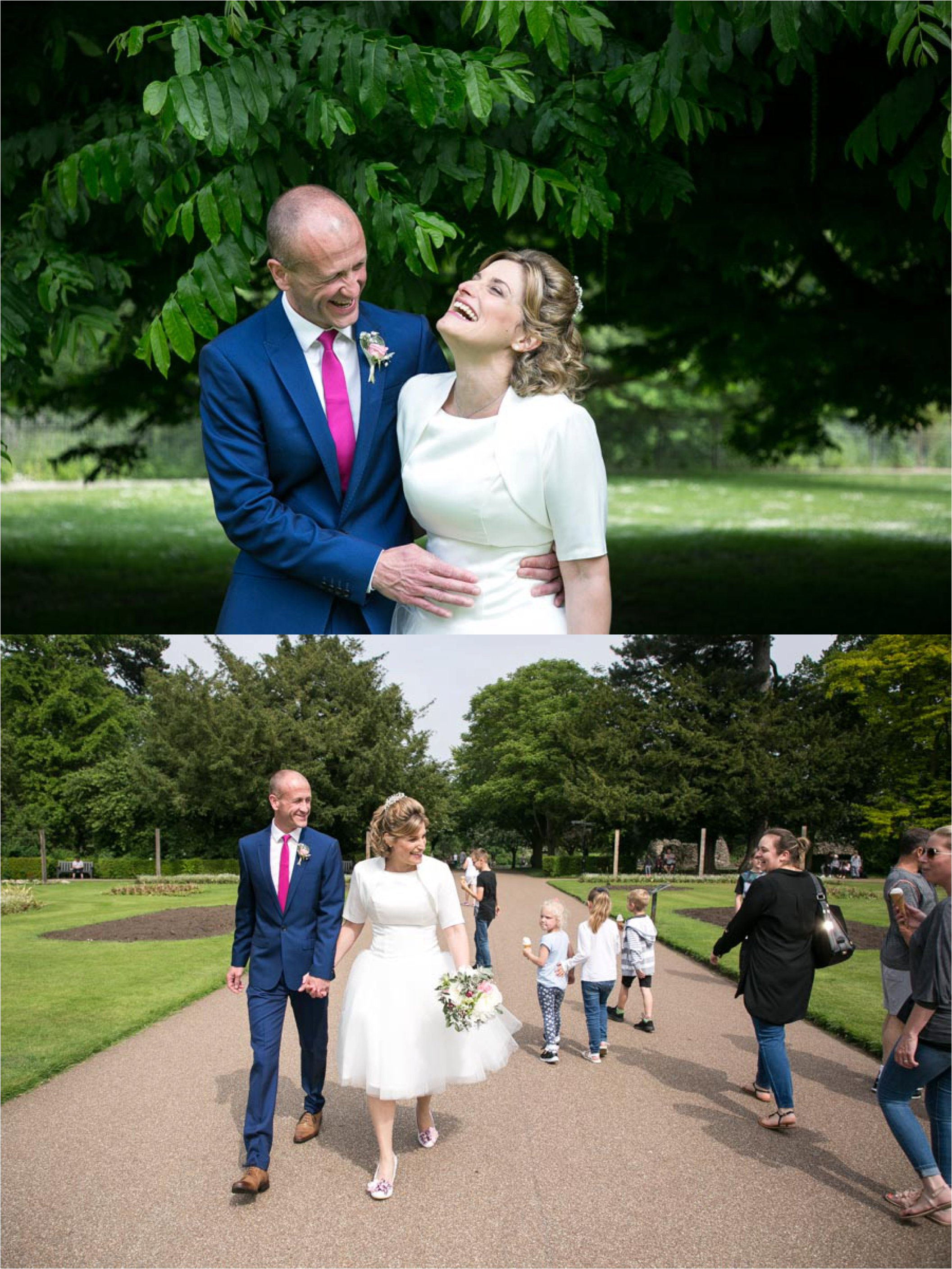 Laughing joyful wedding photography in Abbey Gardens Bury St Edmunds